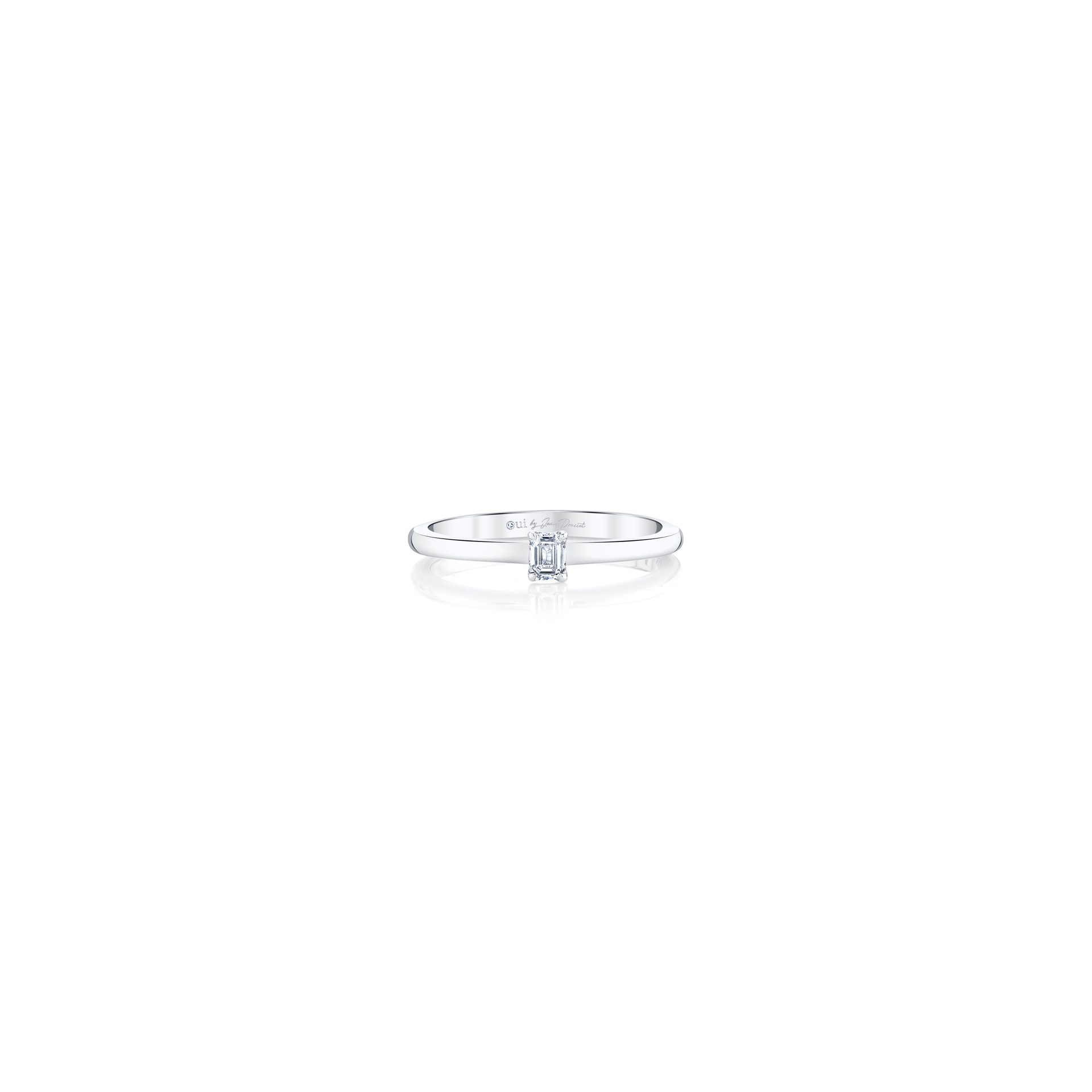 La Petite Emerald Diamond Wedding Band in 18k White Gold Front View by Oui by Jean Dousset