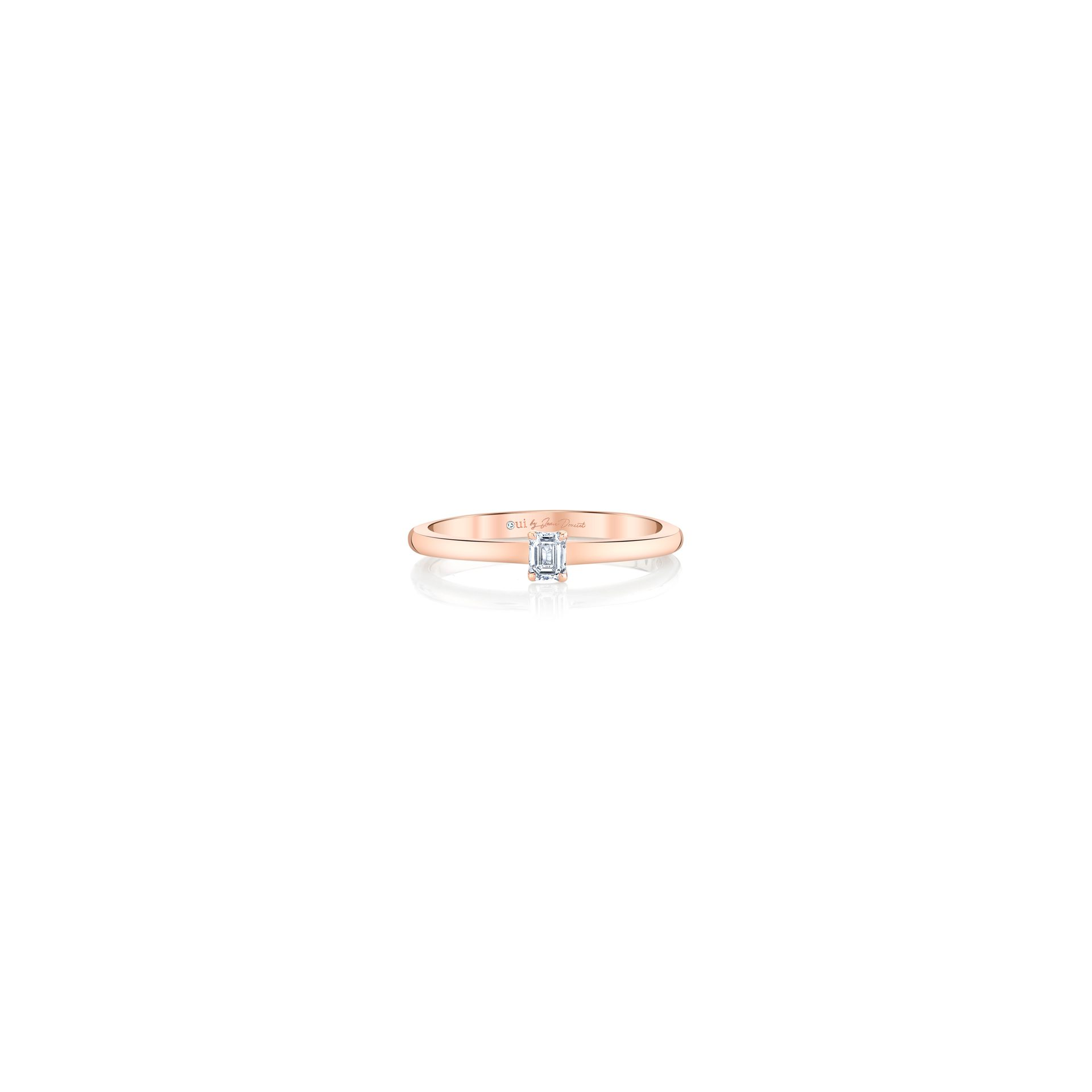 La Petite Emerald Diamond Wedding Band in 18k Rose Gold Front View by Oui by Jean Dousset