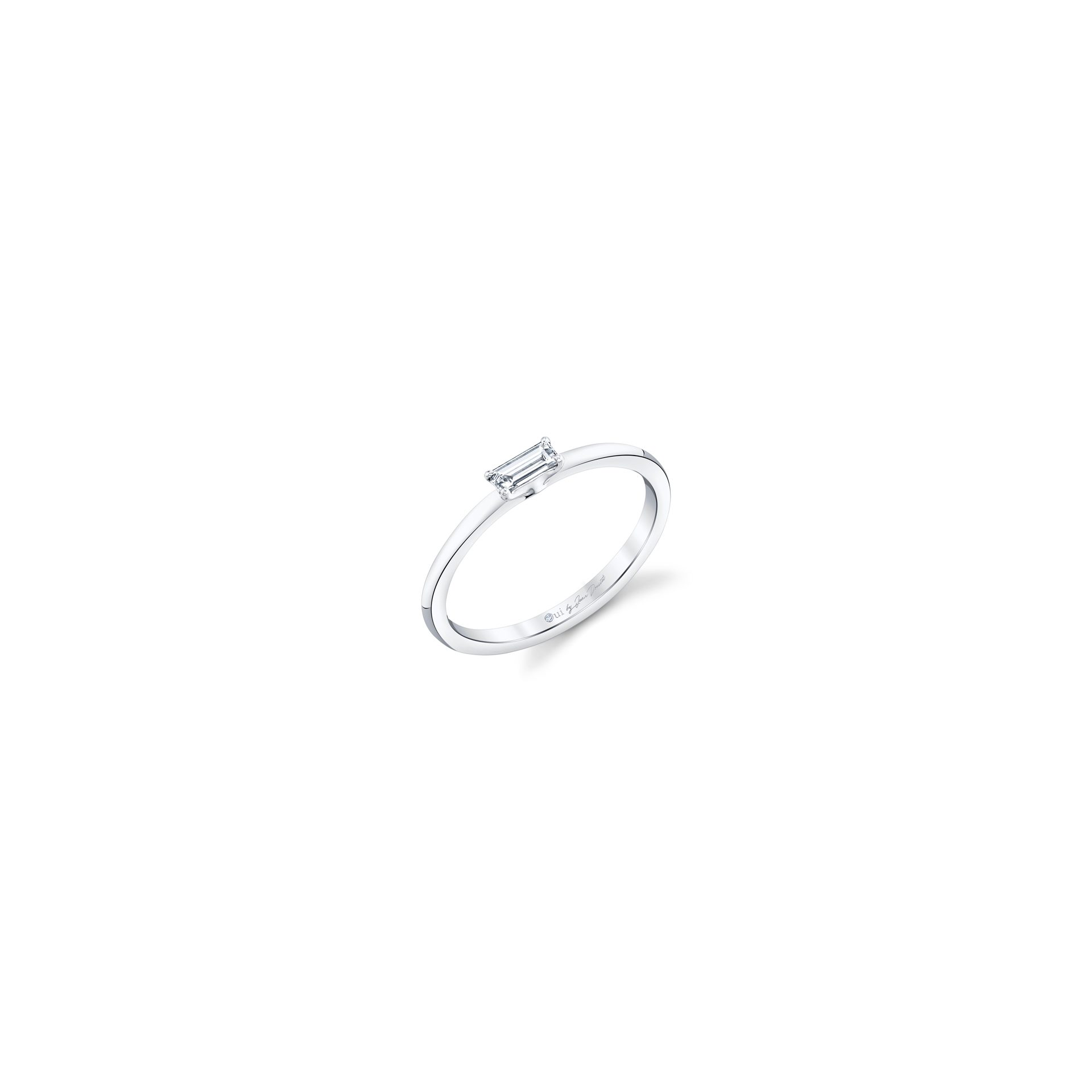 La Petite Baguette Diamond Wedding Band in 18k White Gold Standing View by Oui by Jean Dousset