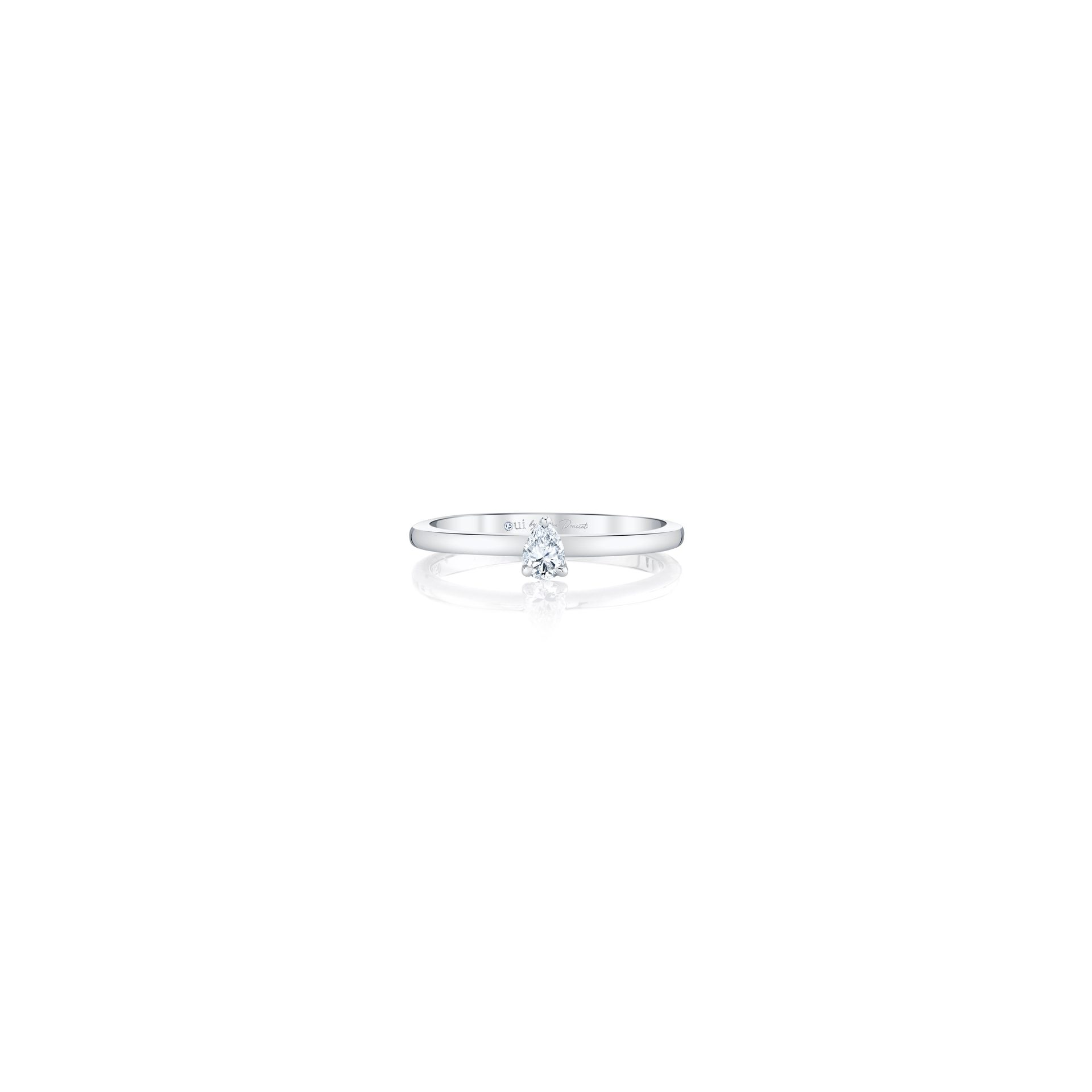 La Petite Pear Diamond Wedding Band in 18k White Gold Front View by Oui by Jean Dousset