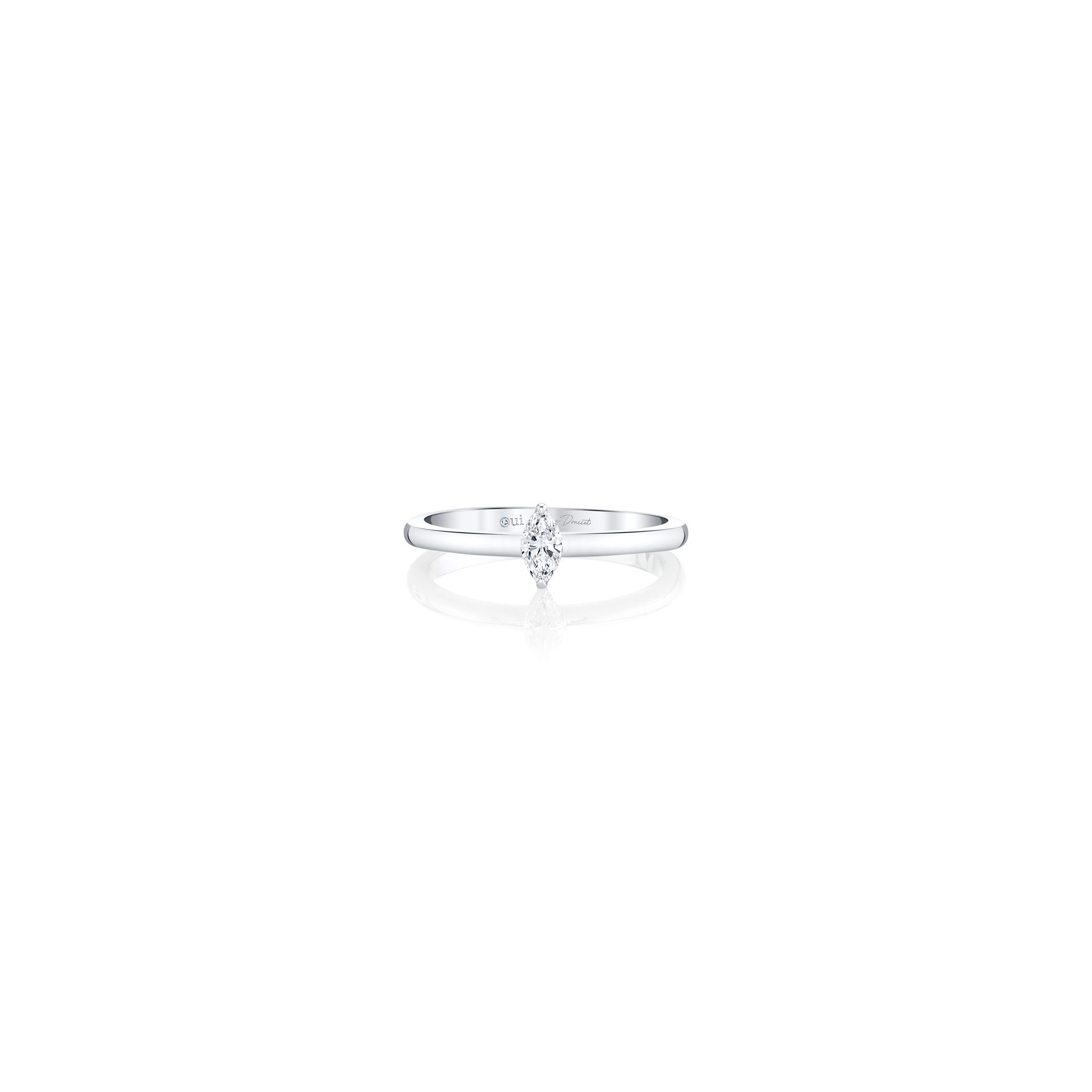La Petite Marquise Diamond Wedding Band in 18k White Gold Front View by Oui by Jean Dousset