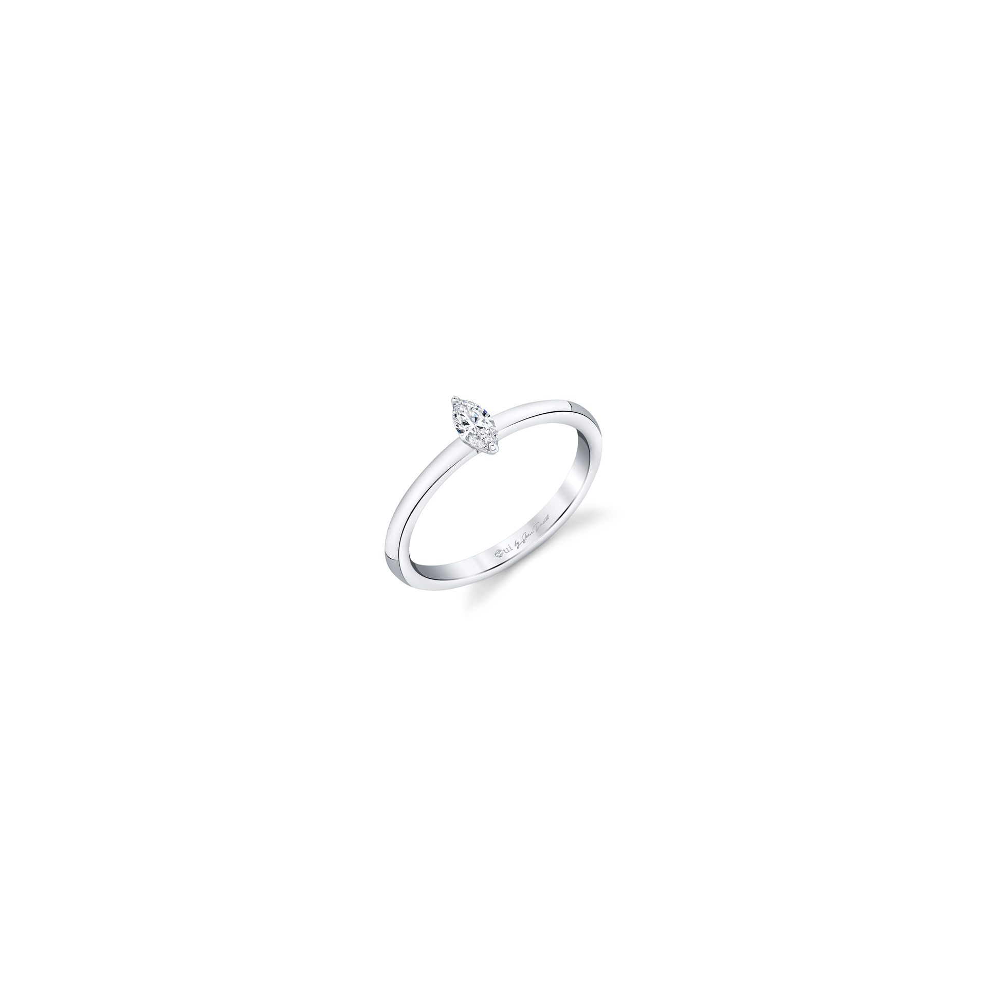 La Petite Marquise Diamond Wedding Band in 18k White Gold Standing View by Oui by Jean Dousset