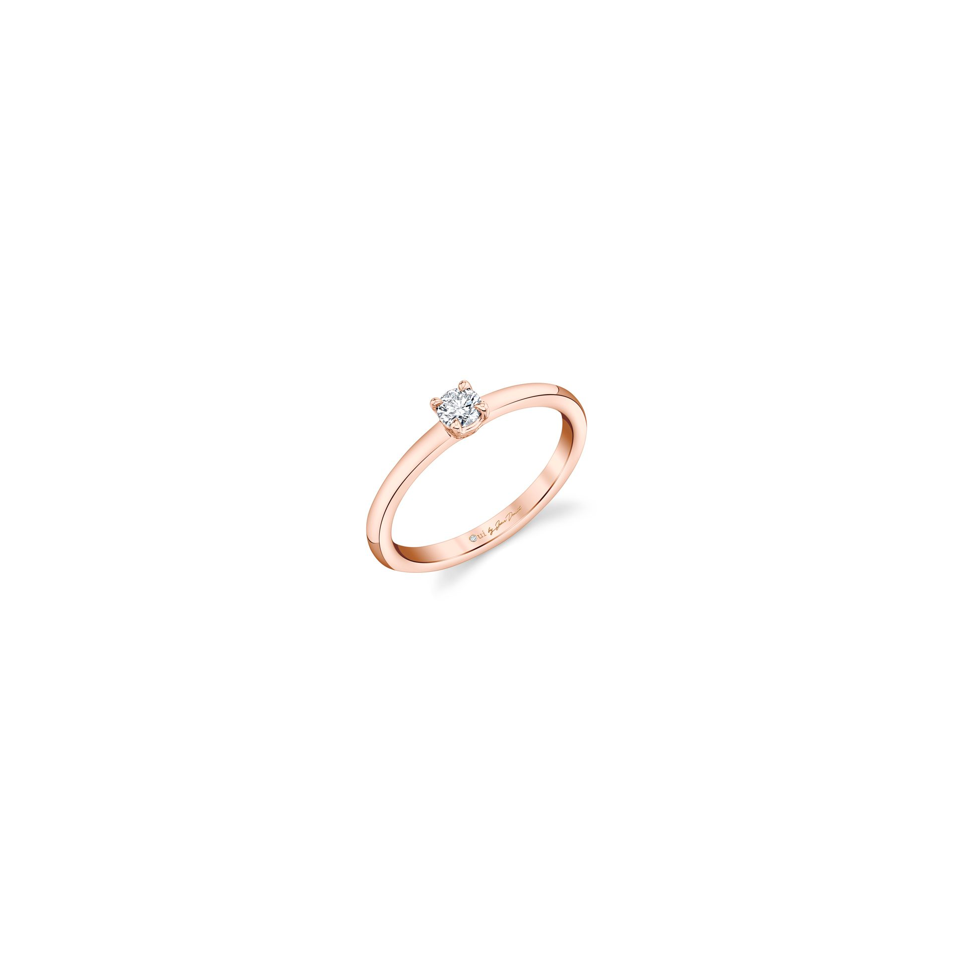 La Petite Round Brilliant Diamond Wedding Band in 18k Rose Gold Standing View by Oui by Jean Dousset