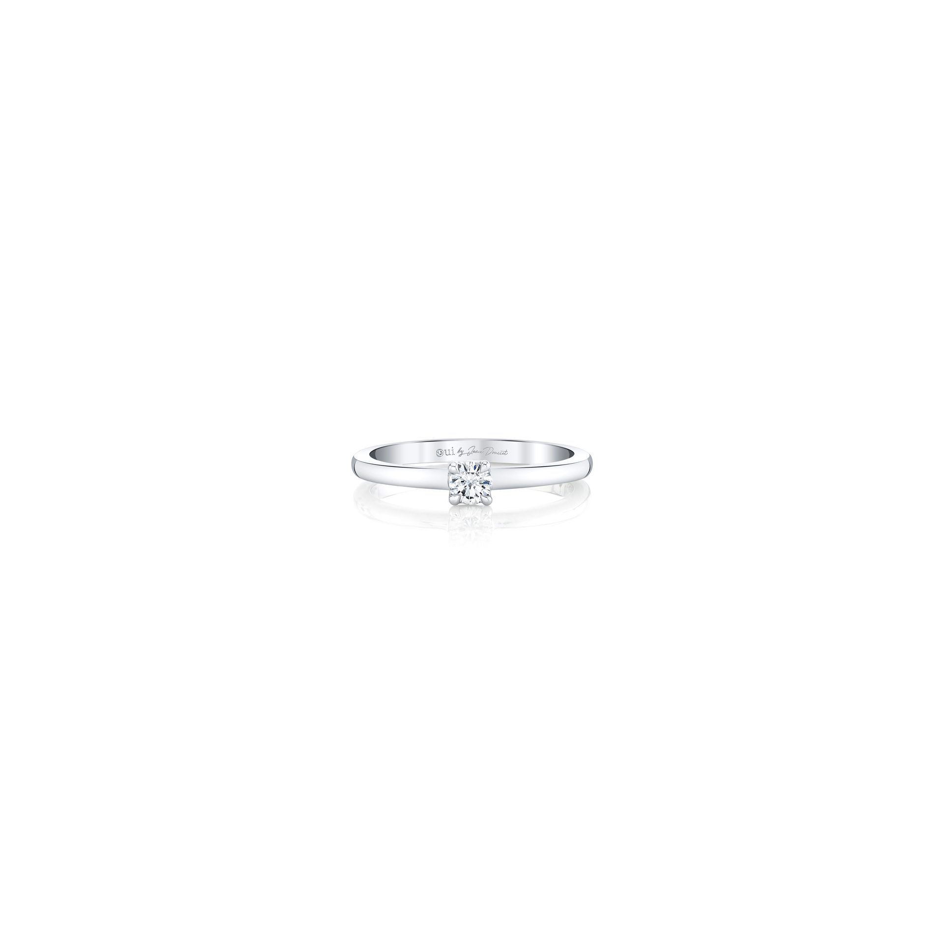 La Petite Round Brilliant Diamond Wedding Band in 18k White Gold Front View by Oui by Jean Dousset