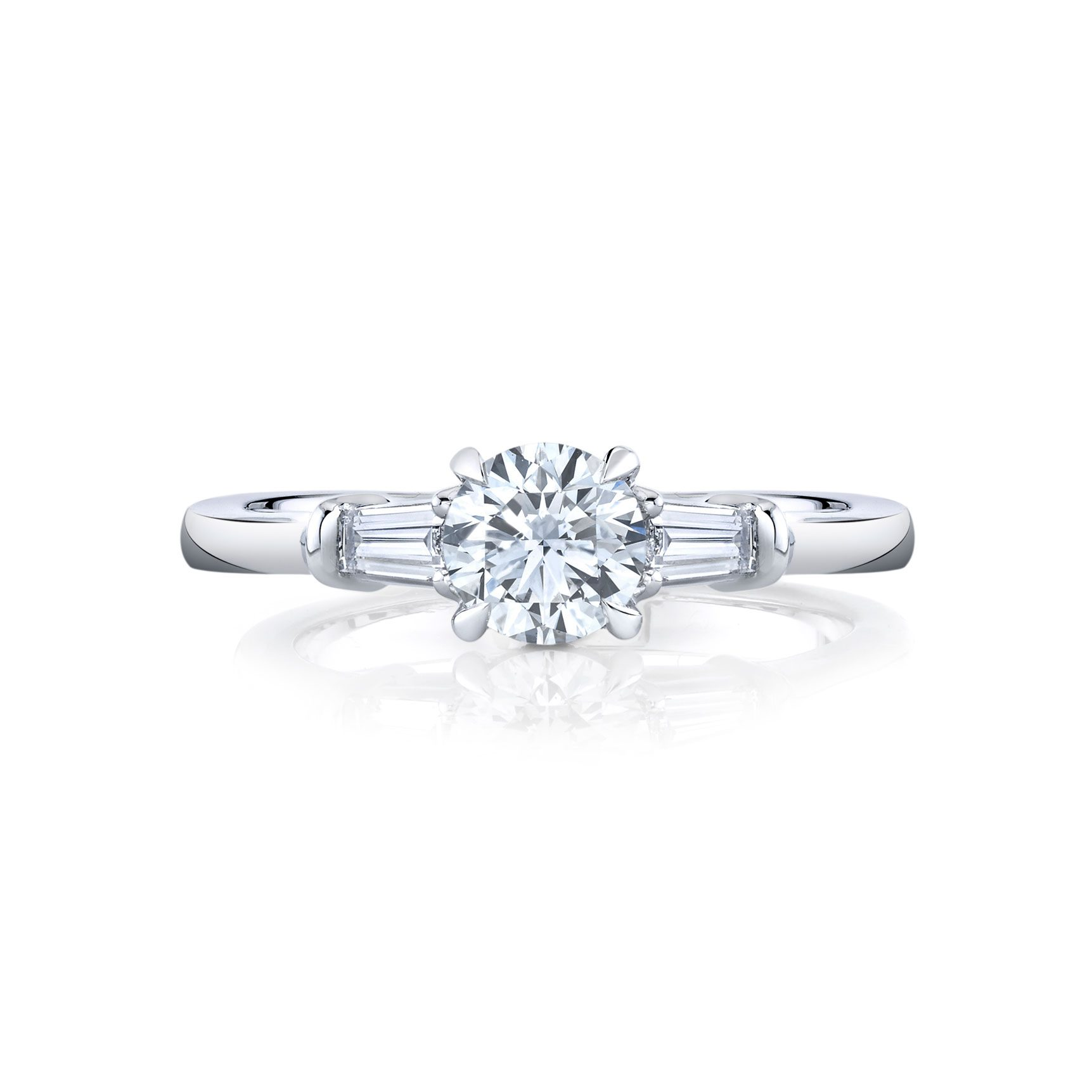 Claire Round Brilliant Three Stone Engagement Ring with tapered baguette diamond side stones in 18k White Gold Front View by Oui by Jean Dousset
