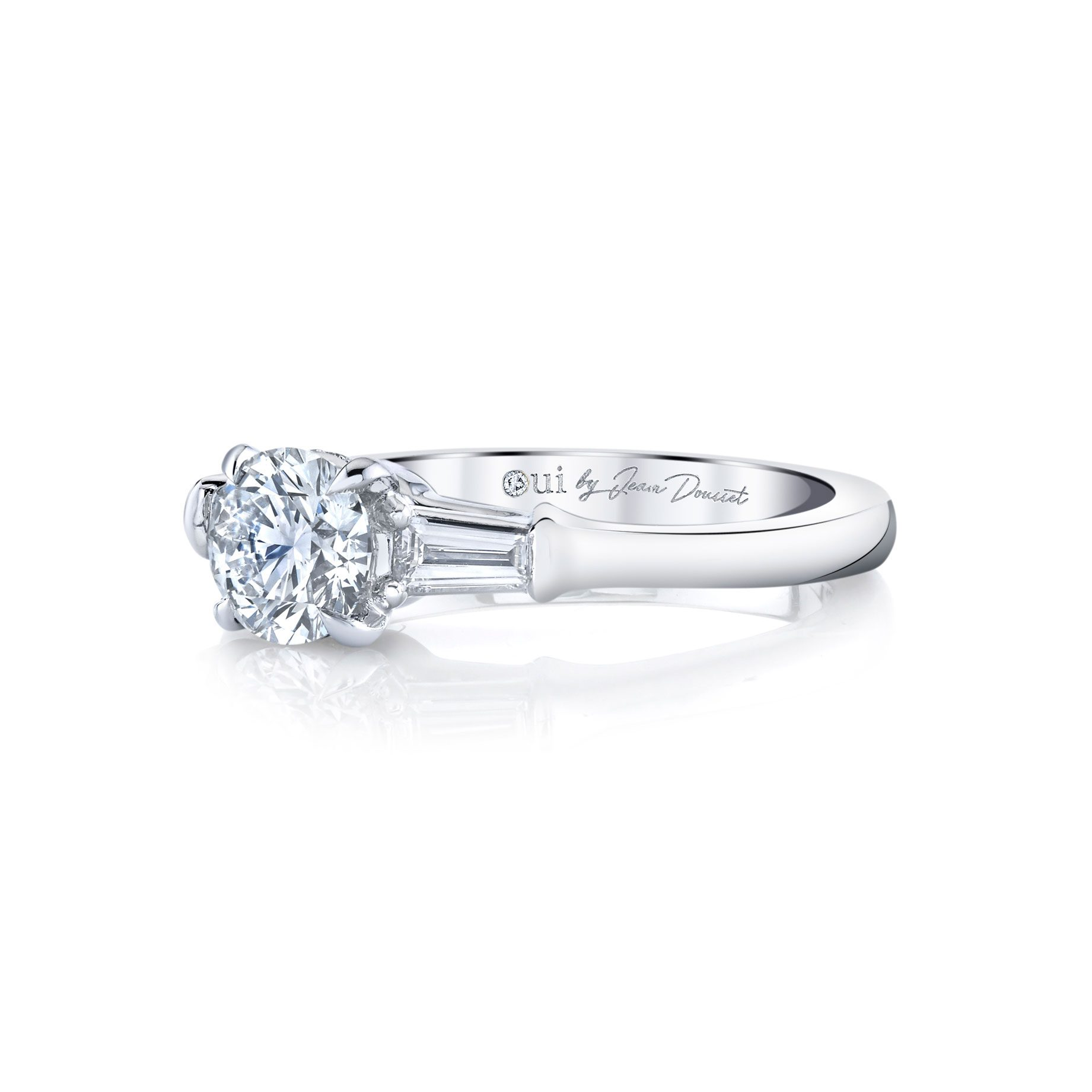 Claire Round Brilliant Three Stone Engagement Ring with tapered baguette diamond side stones in 18k White Gold Side View by Oui by Jean Dousset