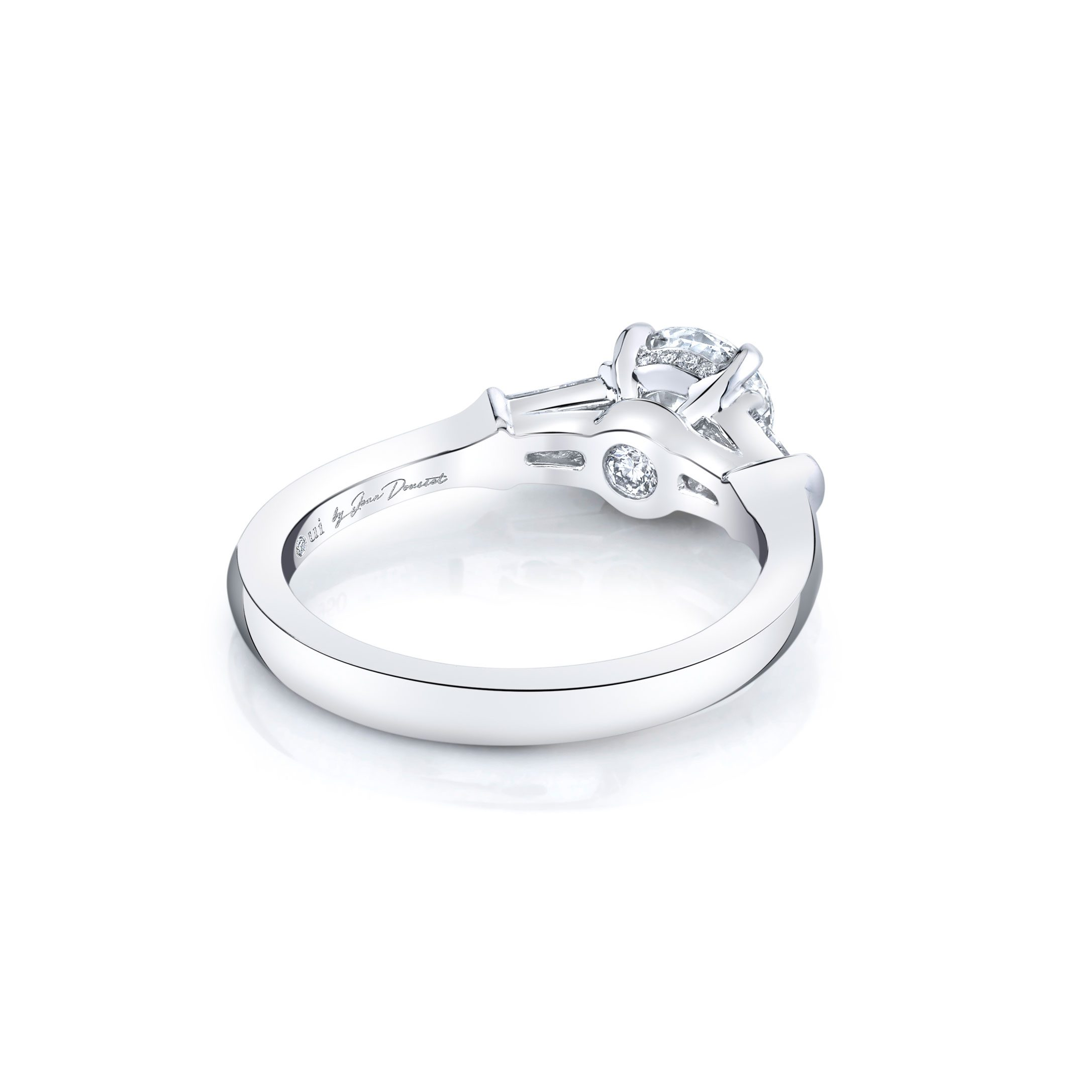 Claire Round Brilliant Three Stone Engagement Ring with tapered baguette diamond side stones in 18k White Gold Back View by Oui by Jean Dousset