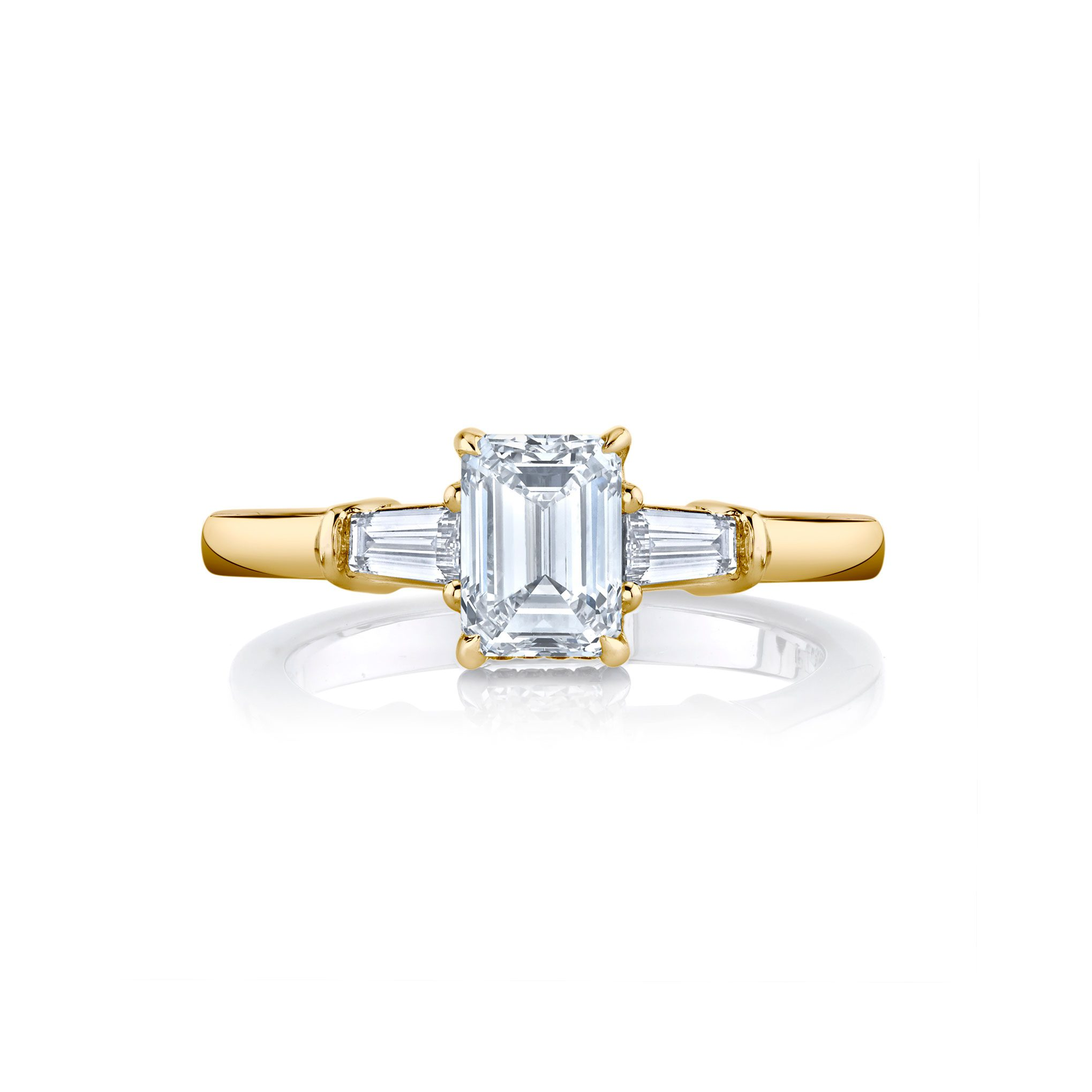 Claire Emerald Three Stone Engagement Ring with tapered baguette diamond side stones in 18k Yellow Gold Front View by Oui by Jean Dousset
