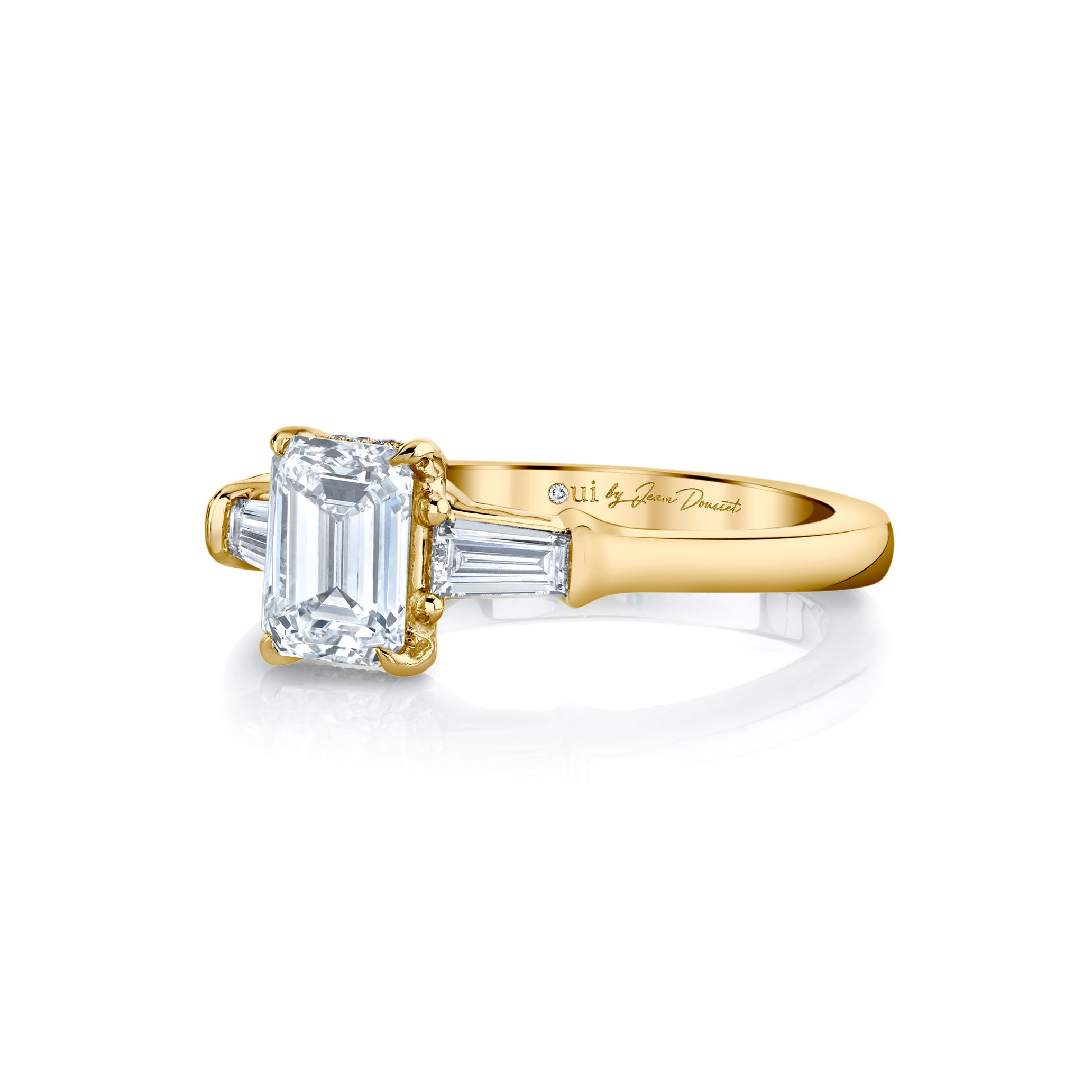 Claire Emerald Three Stone Engagement Ring with tapered baguette diamond side stones in 18k Yellow Gold Side View by Oui by Jean Dousset