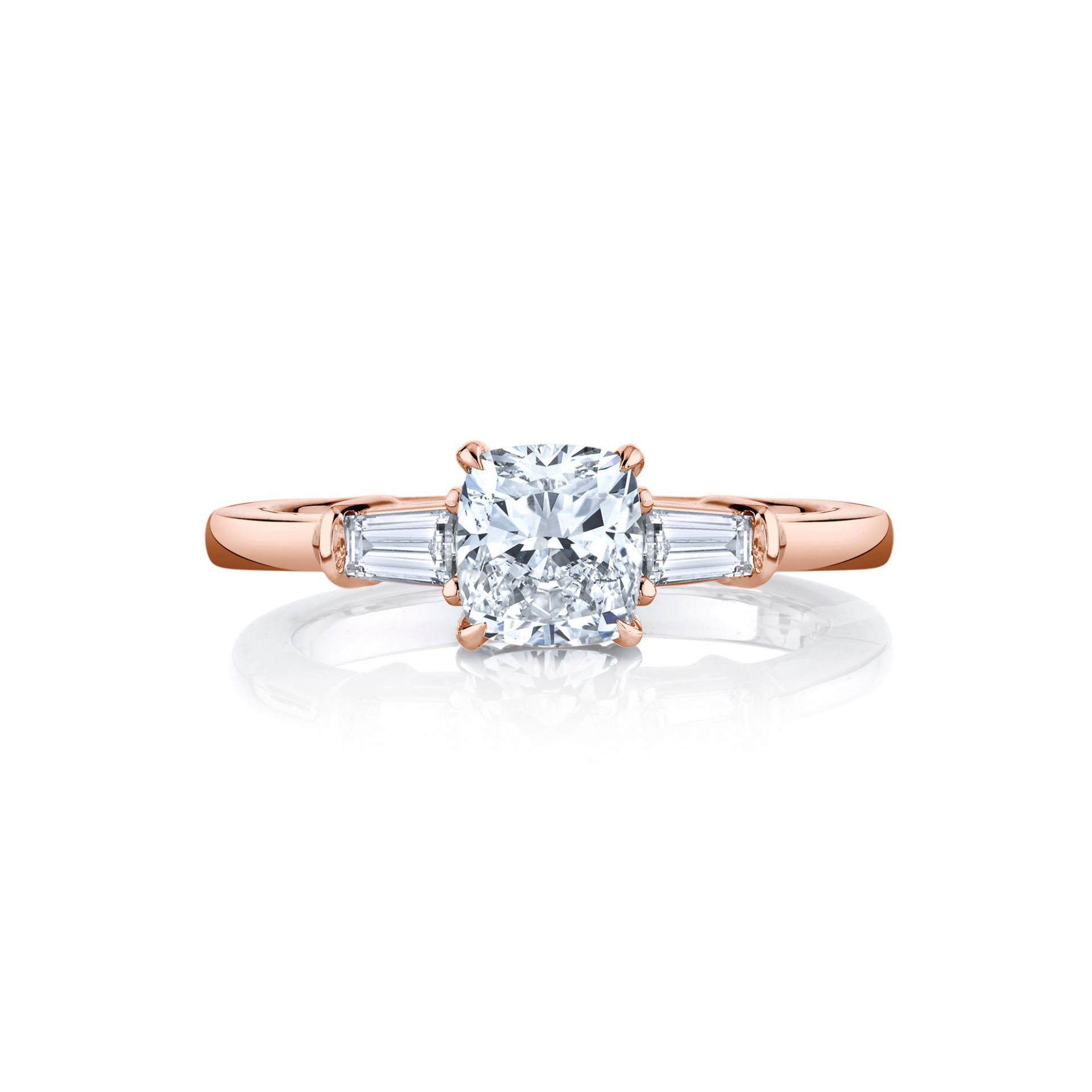 Claire Cushion Three Stone Engagement Ring with tapered baguette diamond side stones in 18k Rose Gold Front View by Oui by Jean Dousset