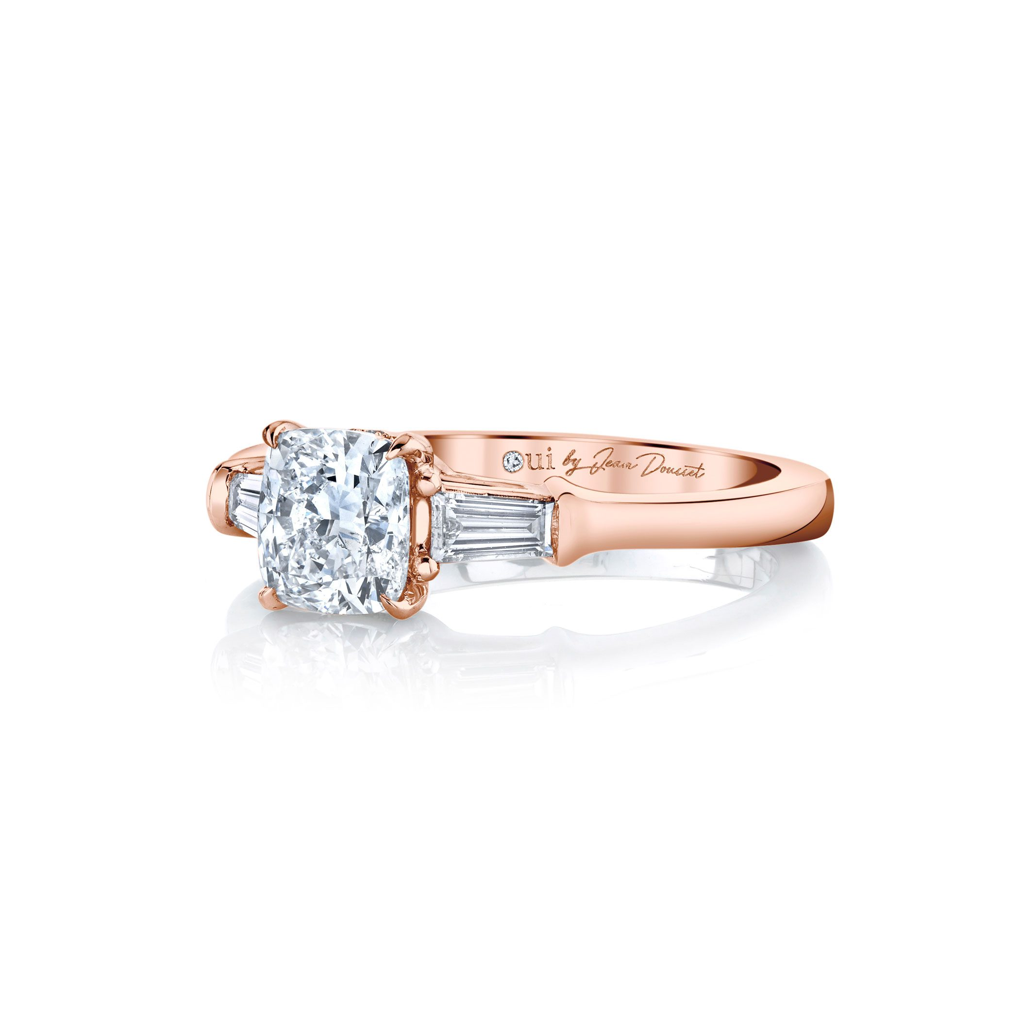 Claire Cushion Three Stone Engagement Ring with tapered baguette diamond side stones in 18k Rose Gold Side View by Oui by Jean Dousset