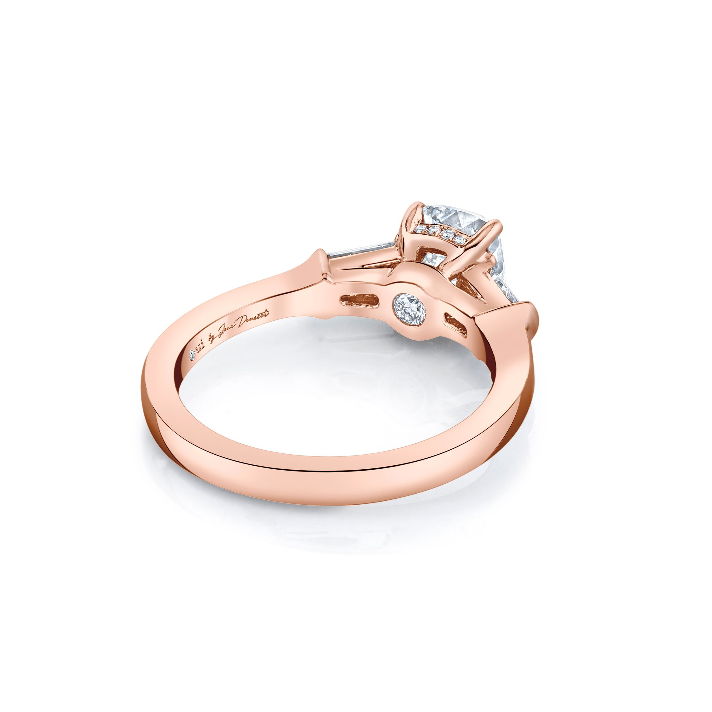 Claire Cushion Three Stone Engagement Ring with tapered baguette diamond side stones in 18k Rose Gold Back View by Oui by Jean Dousset