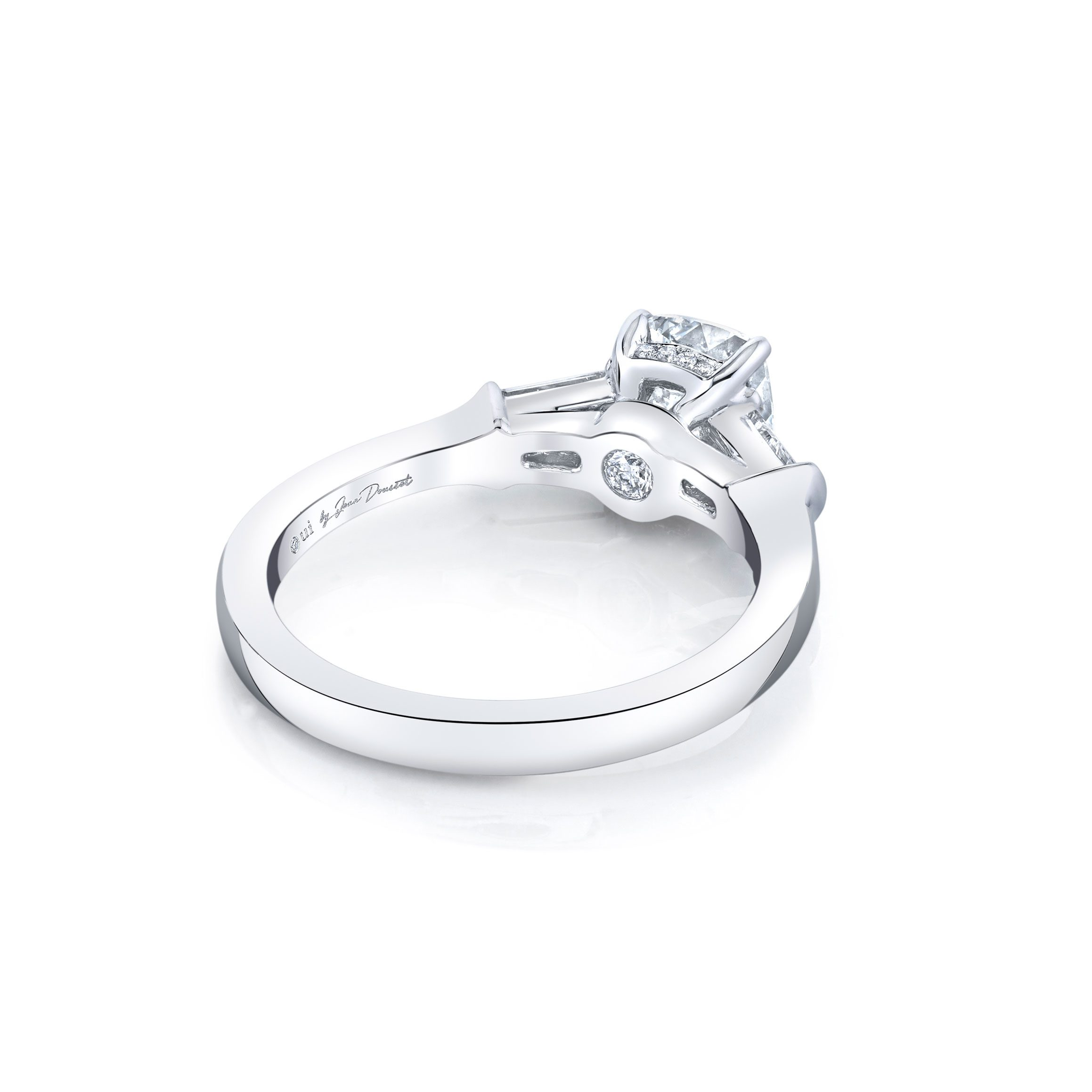 Claire Cushion Three Stone Engagement Ring with tapered baguette diamond side stones in 18k White Gold Back View by Oui by Jean Dousset