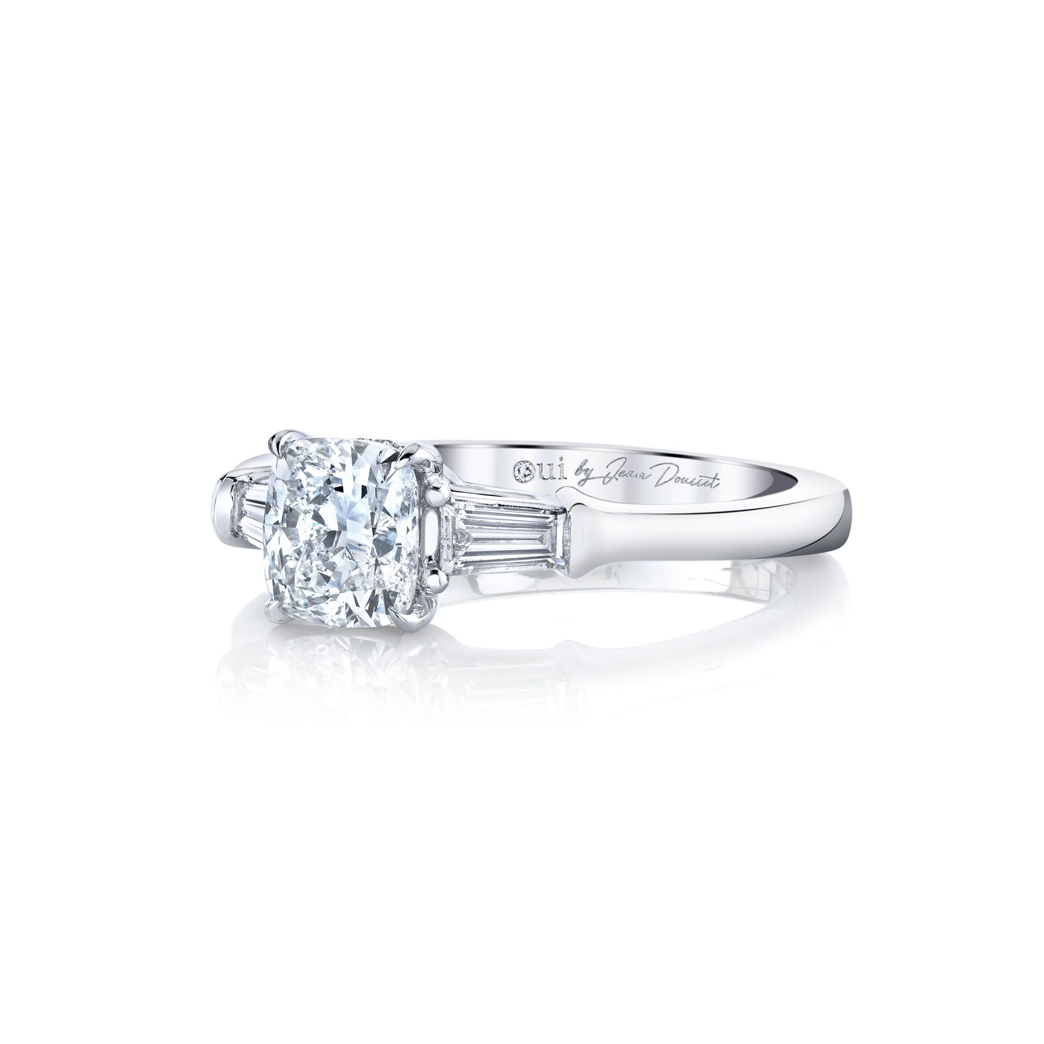 Claire Cushion Three Stone Engagement Ring with tapered baguette diamond side stones in 18k White Gold Side View by Oui by Jean Dousset