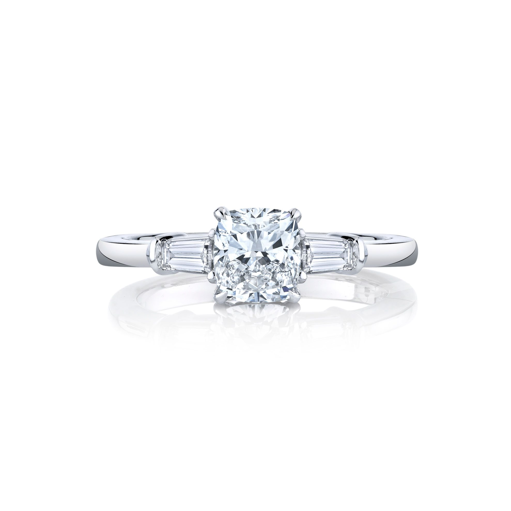 Claire Cushion Three Stone Engagement Ring with tapered baguette diamond side stones in 18k White Gold Front View by Oui by Jean Dousset