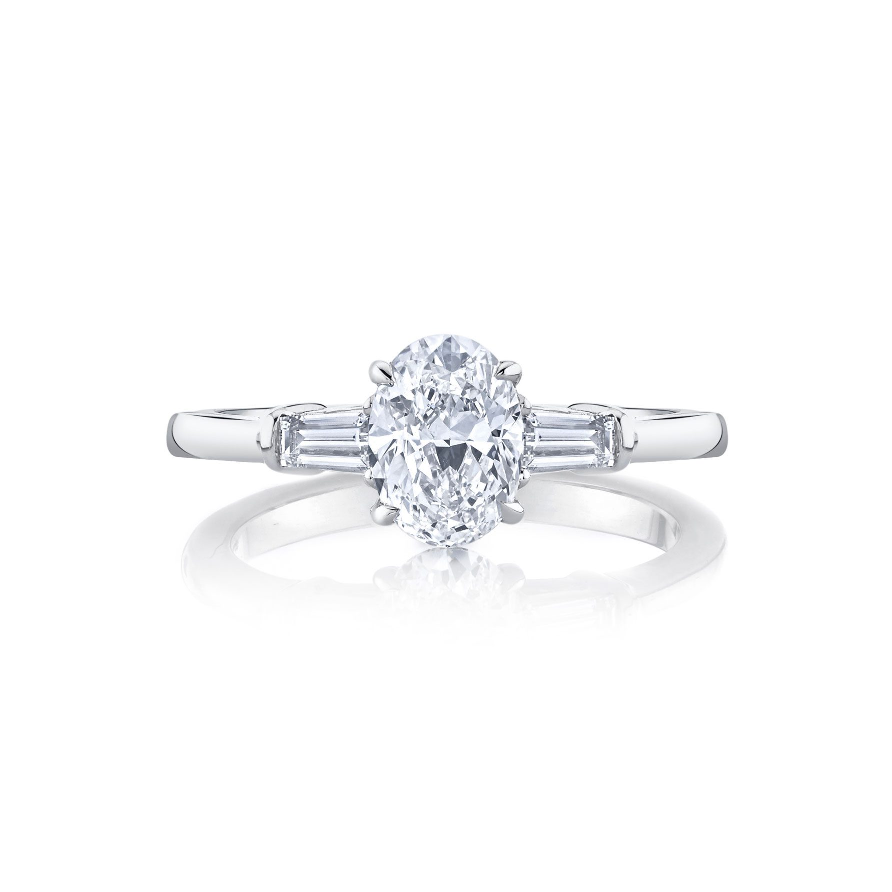 Claire Oval Three Stone Engagement Ring with tapered baguette diamond side stones in 18k White Gold Front View by Oui by Jean Dousset