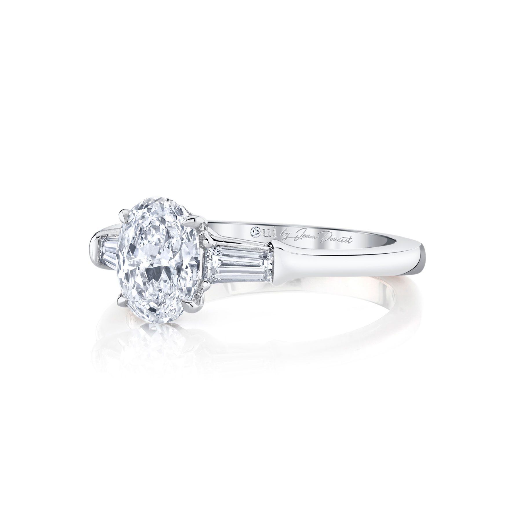 Claire Oval Three Stone Engagement Ring with tapered baguette diamond side stones in 18k White Gold Side View by Oui by Jean Dousset