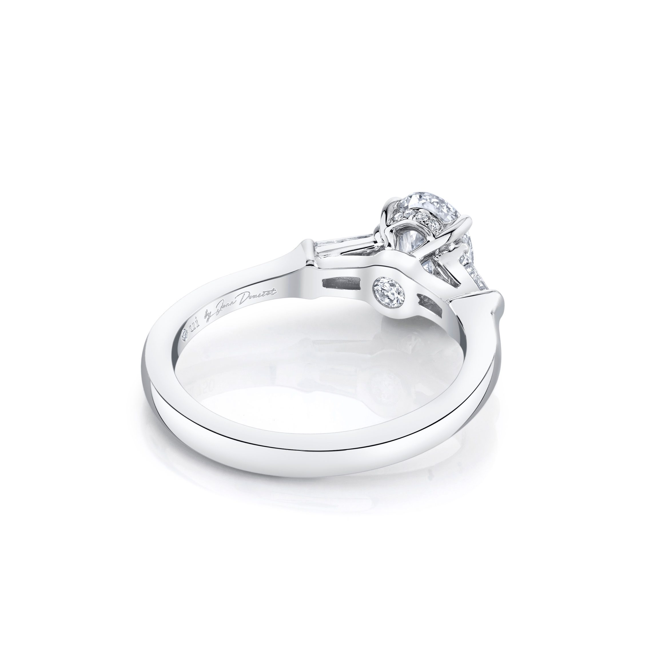 Claire Oval Three Stone Engagement Ring with tapered baguette diamond side stones in 18k White Gold Back View by Oui by Jean Dousset