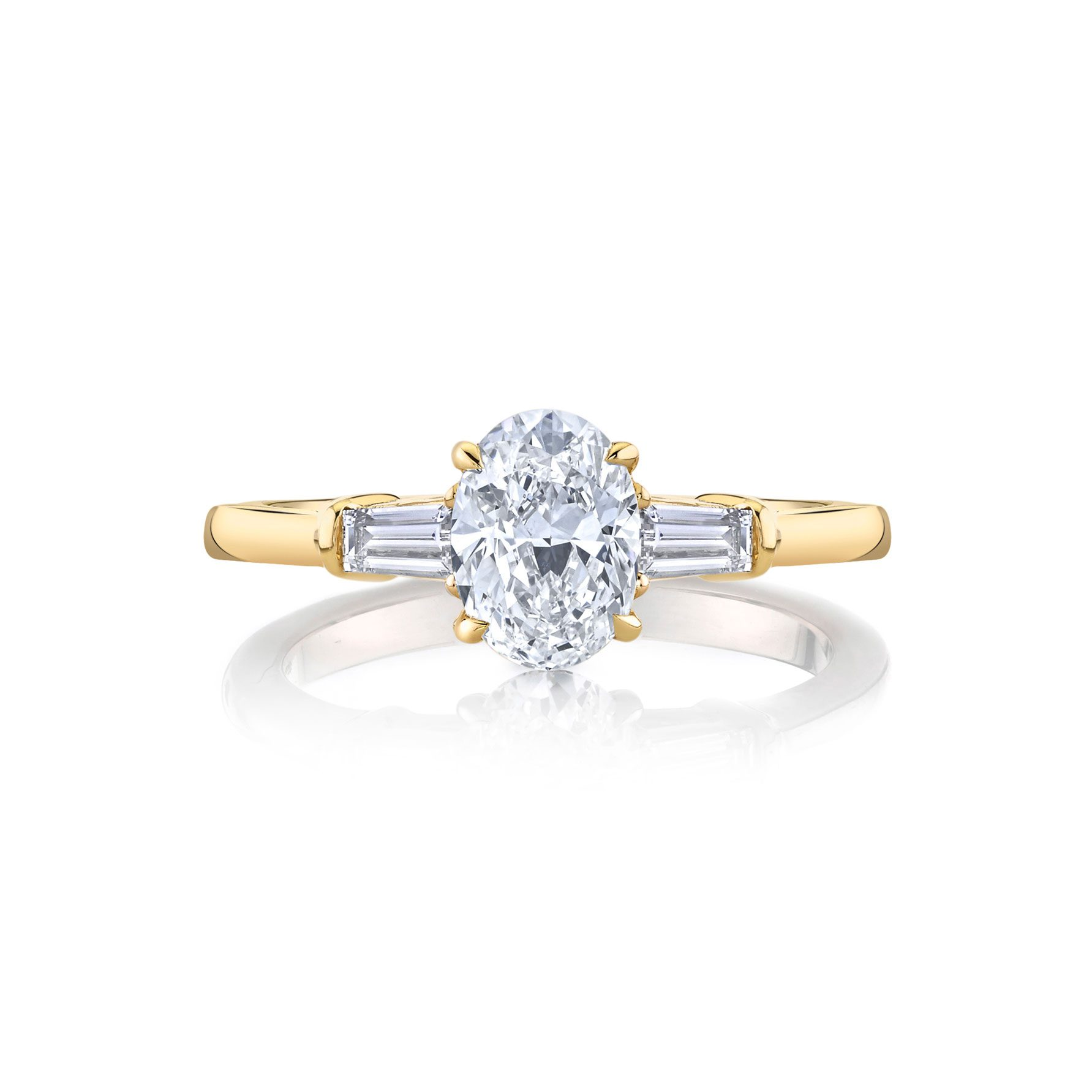 Claire Oval Three Stone Engagement Ring with tapered baguette diamond side stones in 18k Yellow Gold Front View by Oui by Jean Dousset