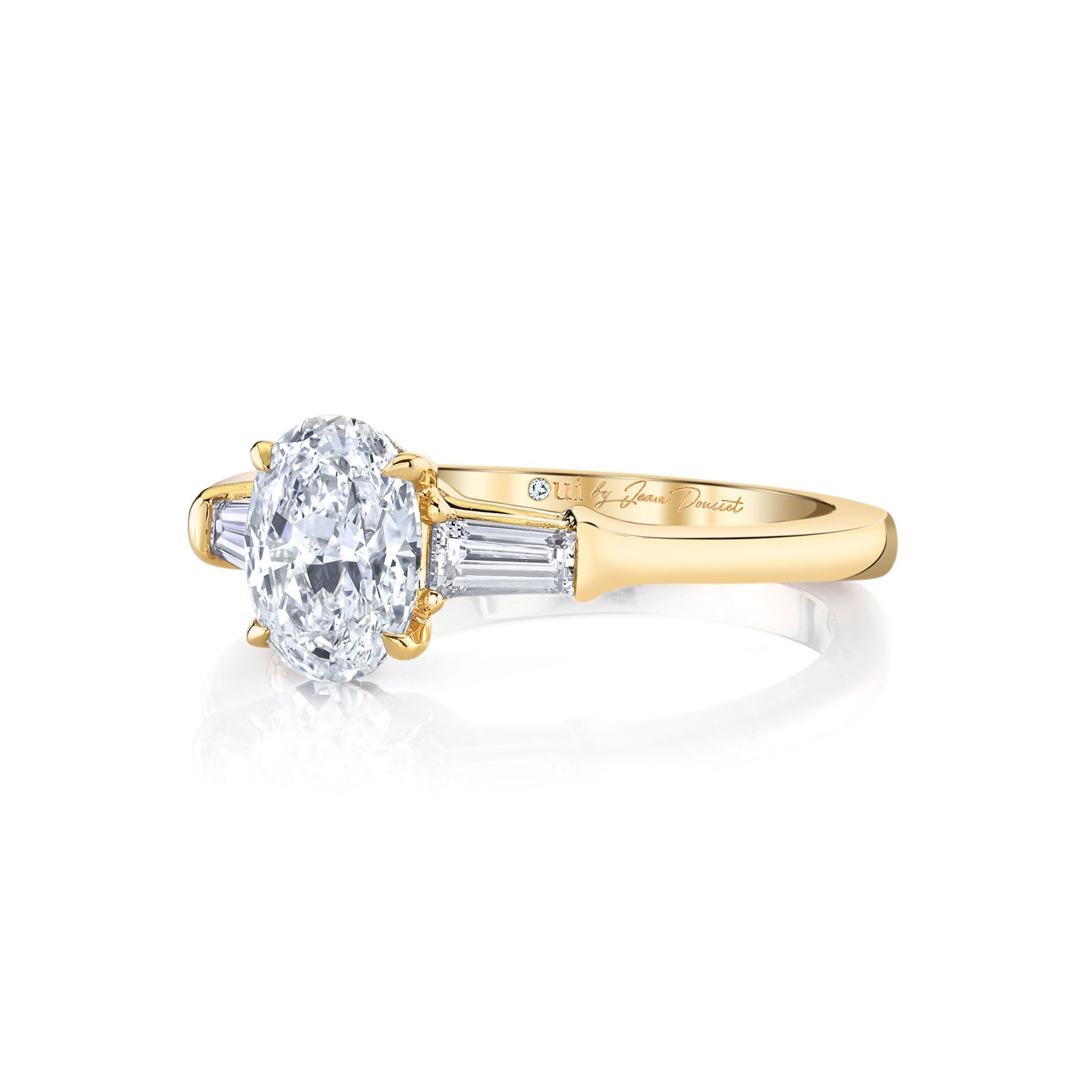 Claire Oval Three Stone Engagement Ring with tapered baguette diamond side stones in 18k Yellow Gold Side View by Oui by Jean Dousset
