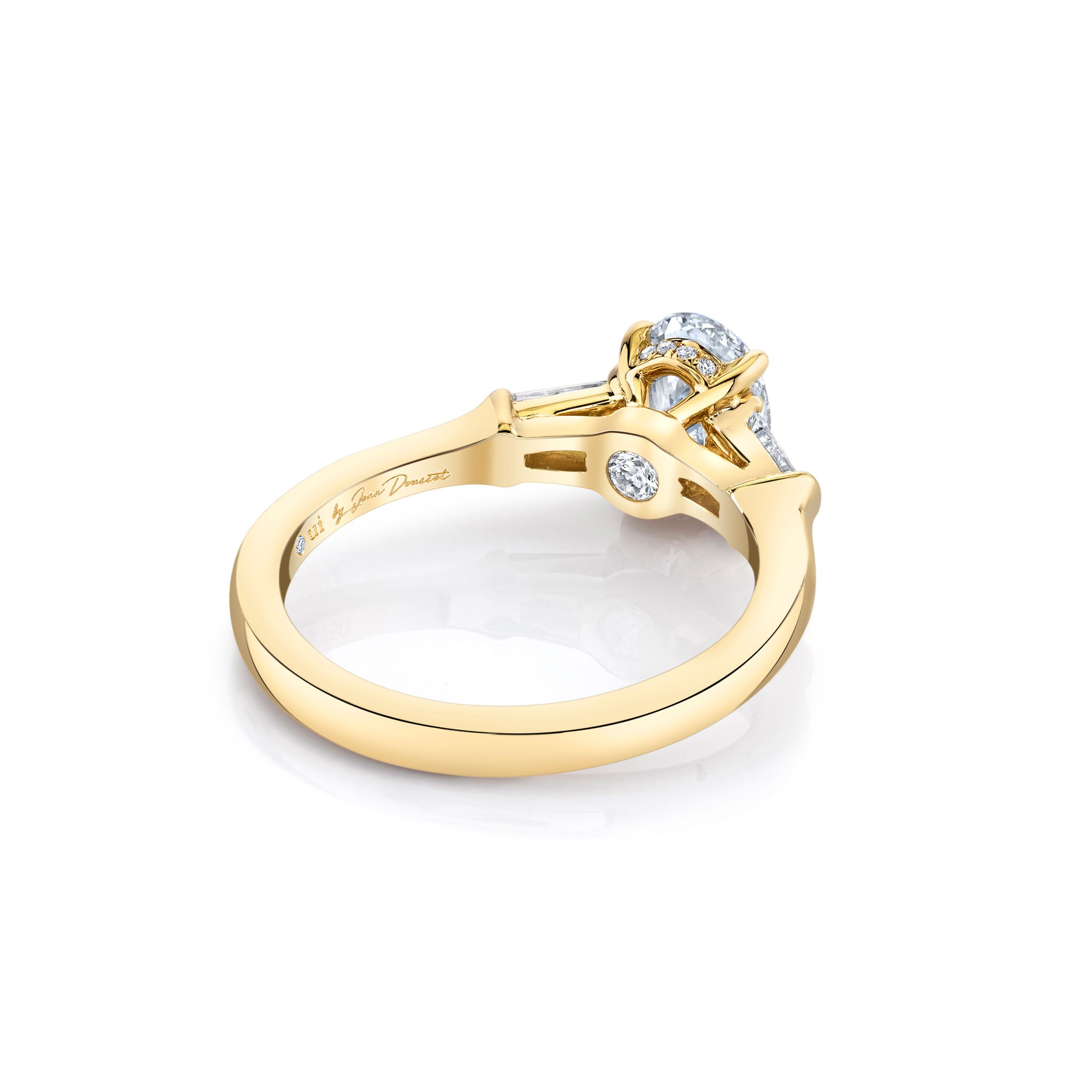 Claire Oval Three Stone Engagement Ring with tapered baguette diamond side stones in 18k Yellow Gold Back View by Oui by Jean Dousset