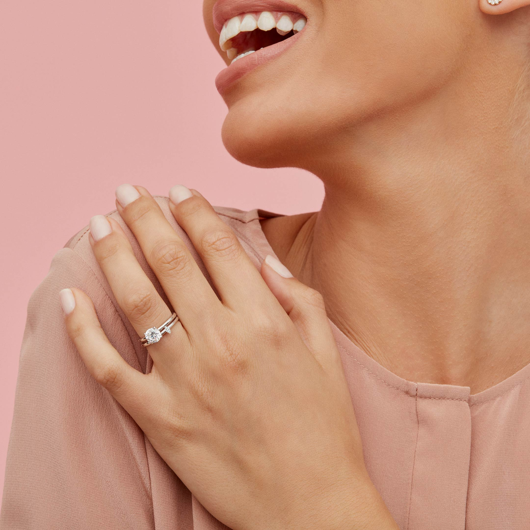 La Petite Marquise Diamond Wedding Band in Platinum Hand against Model Lifestyle by Oui by Jean Dousset