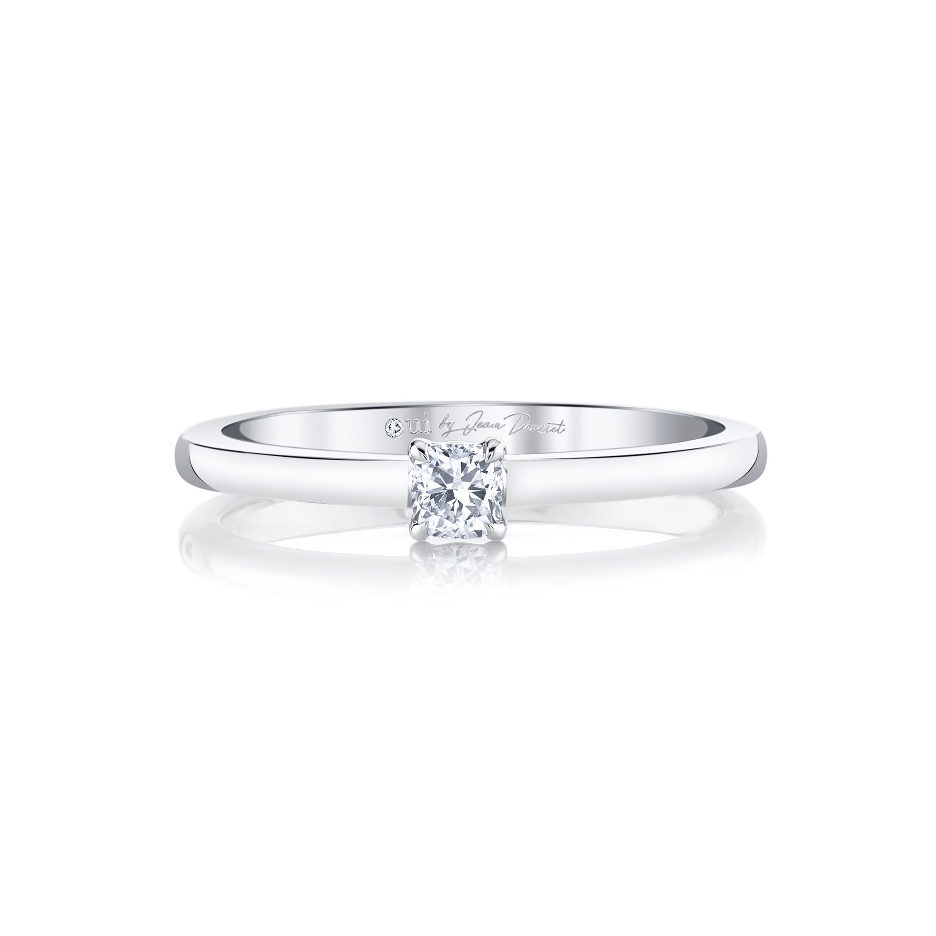 La Petite Cushion Diamond Wedding Band in 18k White Gold Front View by Oui by Jean Dousset