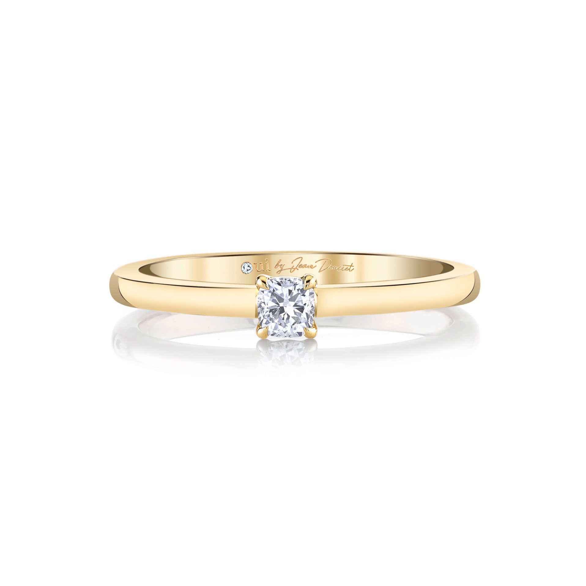 La Petite Cushion Diamond Wedding Band in 18k Yellow Gold Front View by Oui by Jean Dousset