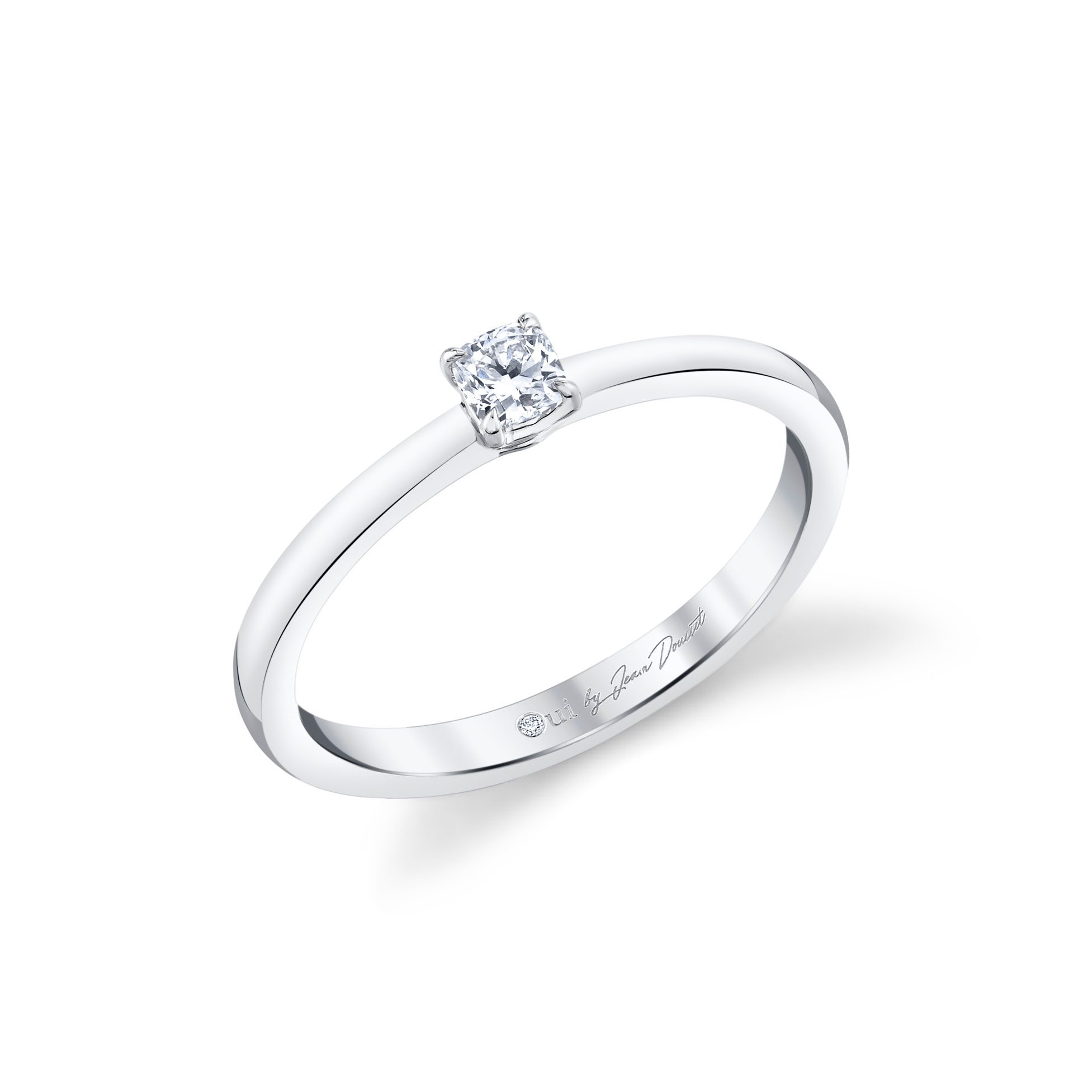 La Petite Cushion Diamond Wedding Band in 18k White Gold Standing View by Oui by Jean Dousset