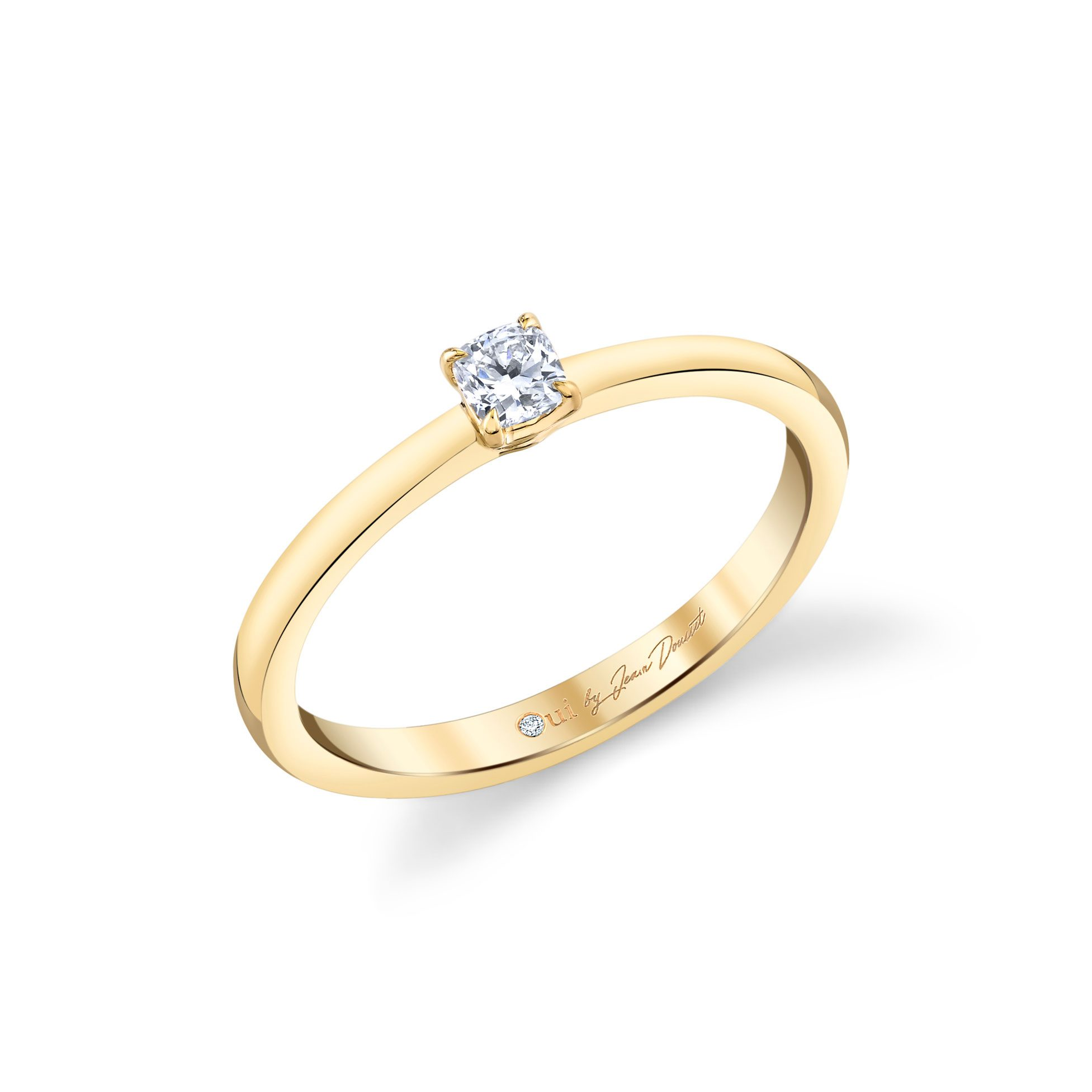 La Petite Cushion Diamond Wedding Band in 18k Yellow Gold Standing View by Oui by Jean Dousset