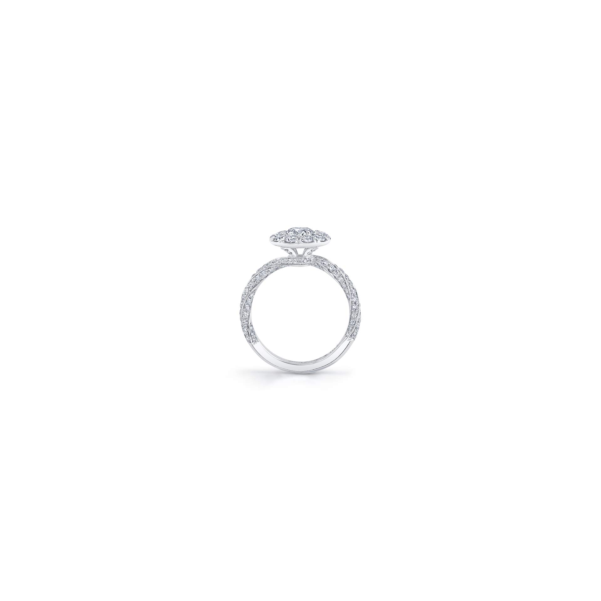 Camille Floating Round Brilliant Seamless Solitaire® Engagement Ring with diamond pavé in 18k White Gold Standing View Standing View by Oui by Jean Dousset