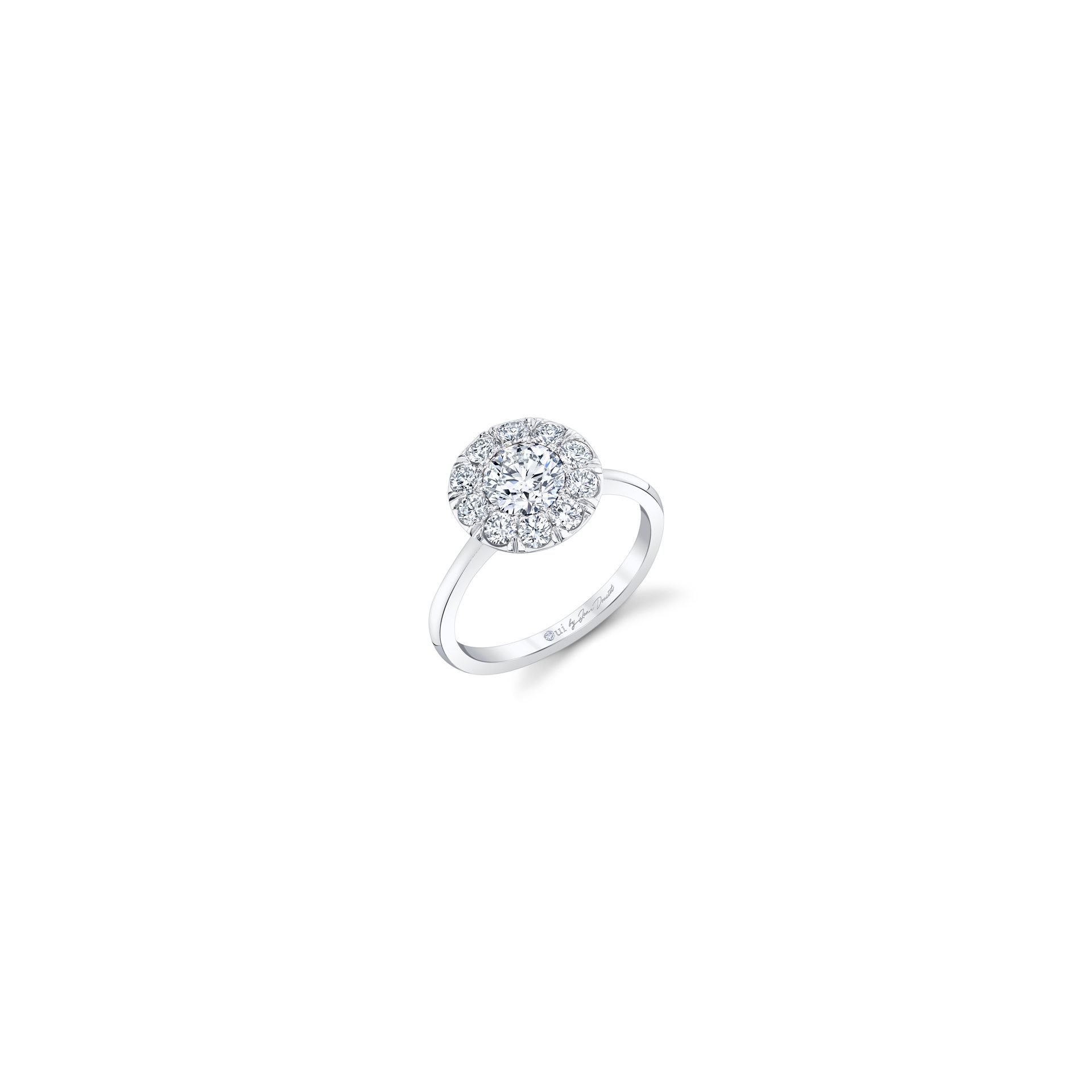 Colette Floating Round Brilliant Seamless Solitaire® Engagement Ring with a sold band in 18k White Gold Front View by Oui by Jean Dousset