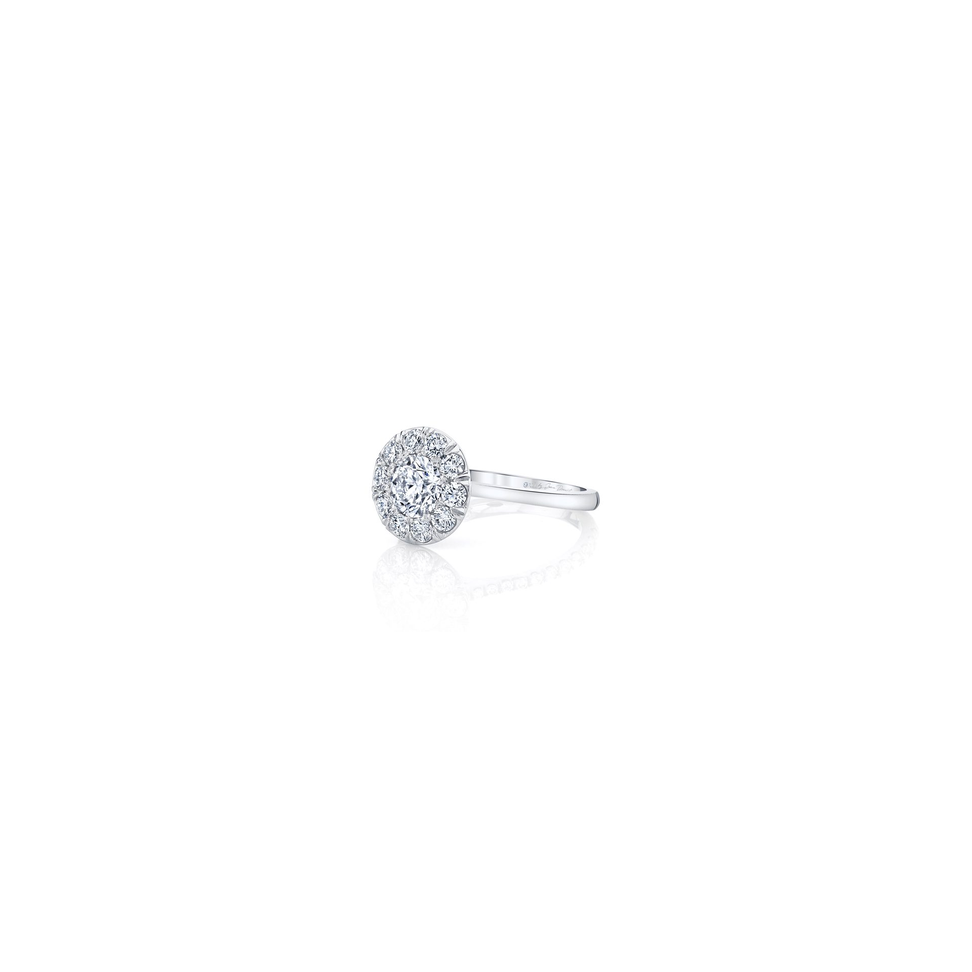 Colette Floating Round Brilliant Seamless Solitaire® Engagement Ring with a sold band in 18k White Gold Side View by Oui by Jean Dousset