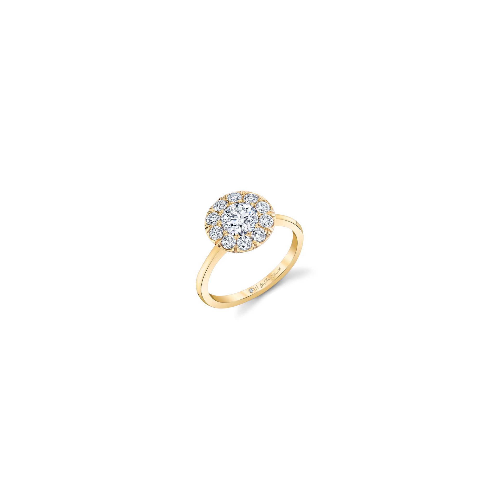 Colette Floating Round Brilliant Seamless Solitaire® Engagement Ring with a sold band in 18k Yellow Gold Front View by Oui by Jean Dousset