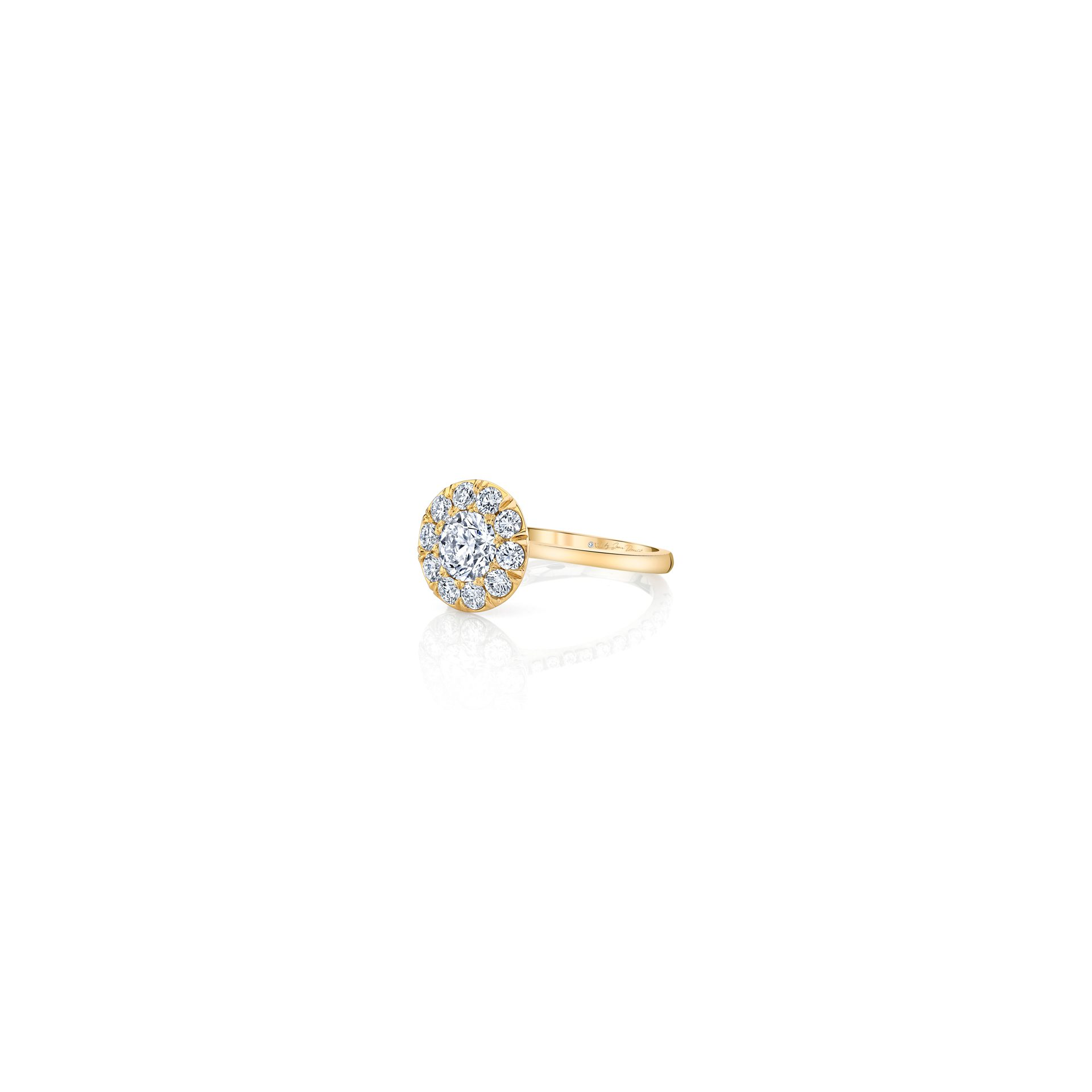 Colette Floating Round Brilliant Seamless Solitaire® Engagement Ring with a sold band in 18k Yellow Gold Side View by Oui by Jean Dousset