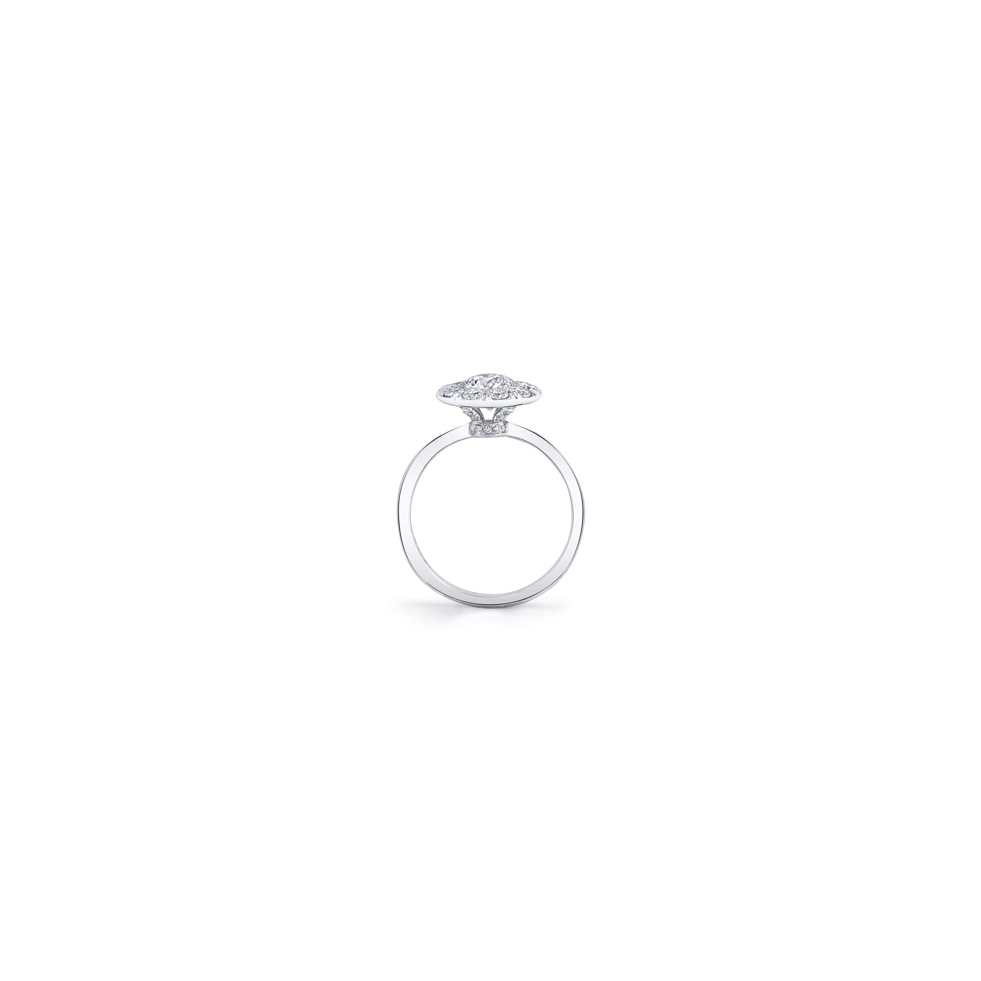 Colette Floating Round Brilliant Seamless Solitaire® Engagement Ring with a sold band in 18k White Gold Standing View by Oui by Jean Dousset