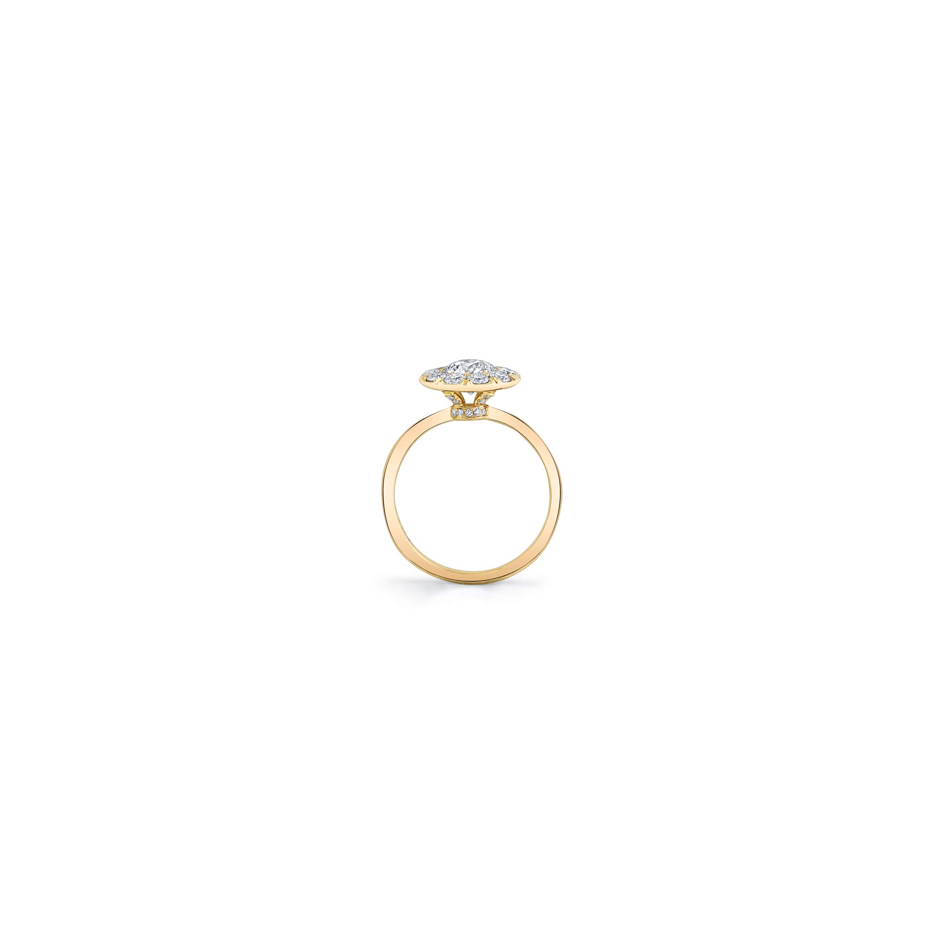 Colette Floating Round Brilliant Seamless Solitaire® Engagement Ring with a sold band in 18k Yellow Gold Standing View by Oui by Jean Dousset
