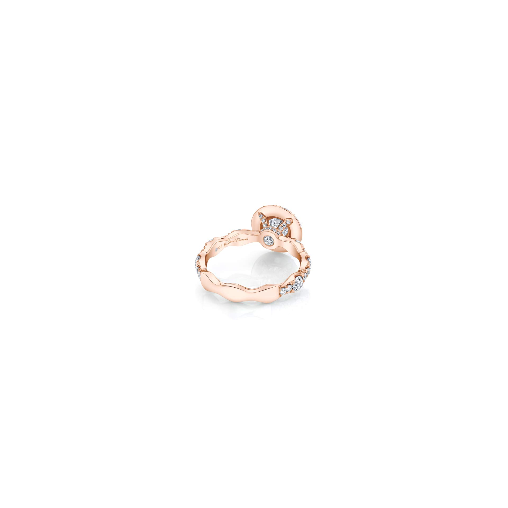 Yvonne Floating Round Brilliant Seamless Solitaire® Three Stone Engagement Ring with a diamond pavé wave in 18k Rose Gold Back View by Oui by Jean Dousset