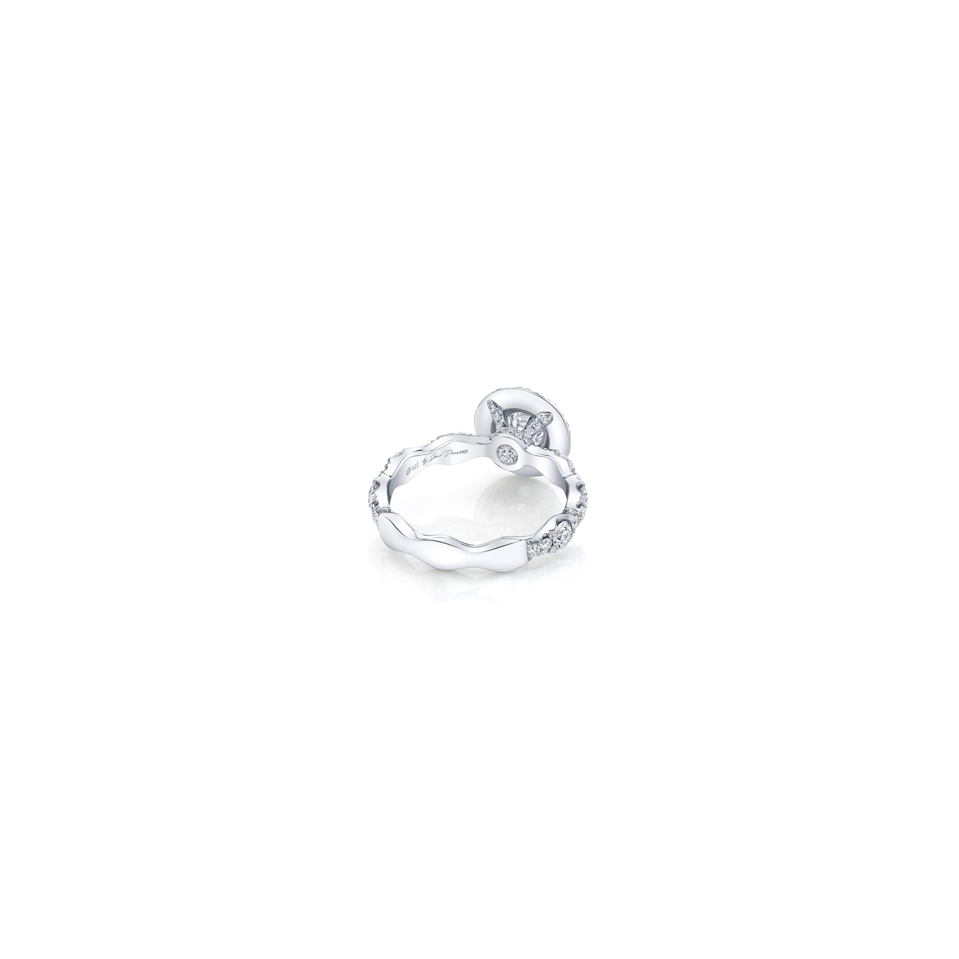 Yvonne Floating Round Brilliant Seamless Solitaire® Three Stone Engagement Ring with a diamond pavé wave in 18k White Gold Back View by Oui by Jean Dousset