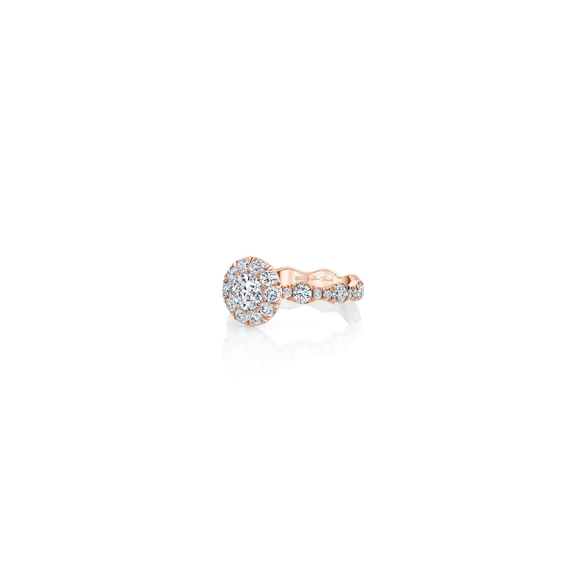 Yvonne Floating Round Brilliant Seamless Solitaire® Three Stone Engagement Ring with a diamond pavé wave in 18k Rose Gold Side View by Oui by Jean Dousset