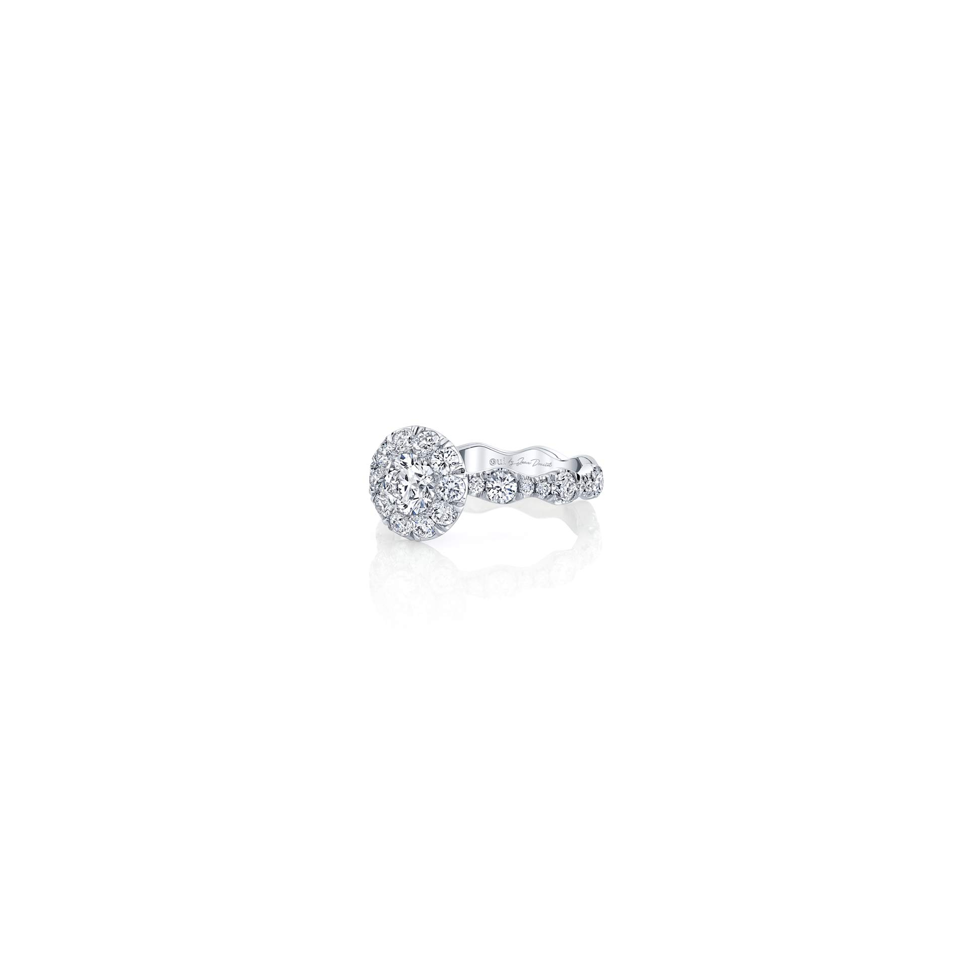 Yvonne Floating Round Brilliant Seamless Solitaire® Three Stone Engagement Ring with a diamond pavé wave in 18k White Gold Side View by Oui by Jean Dousset