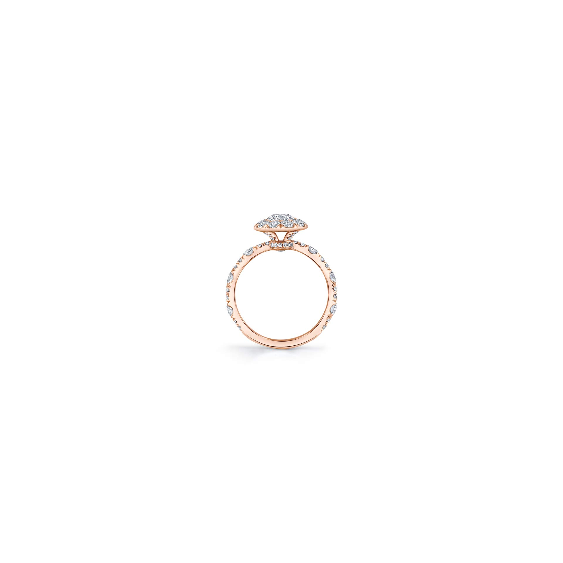 Yvonne Floating Round Brilliant Seamless Solitaire® Three Stone Engagement Ring with a diamond pavé wave in 18k Rose Gold Standing View by Oui by Jean Dousset