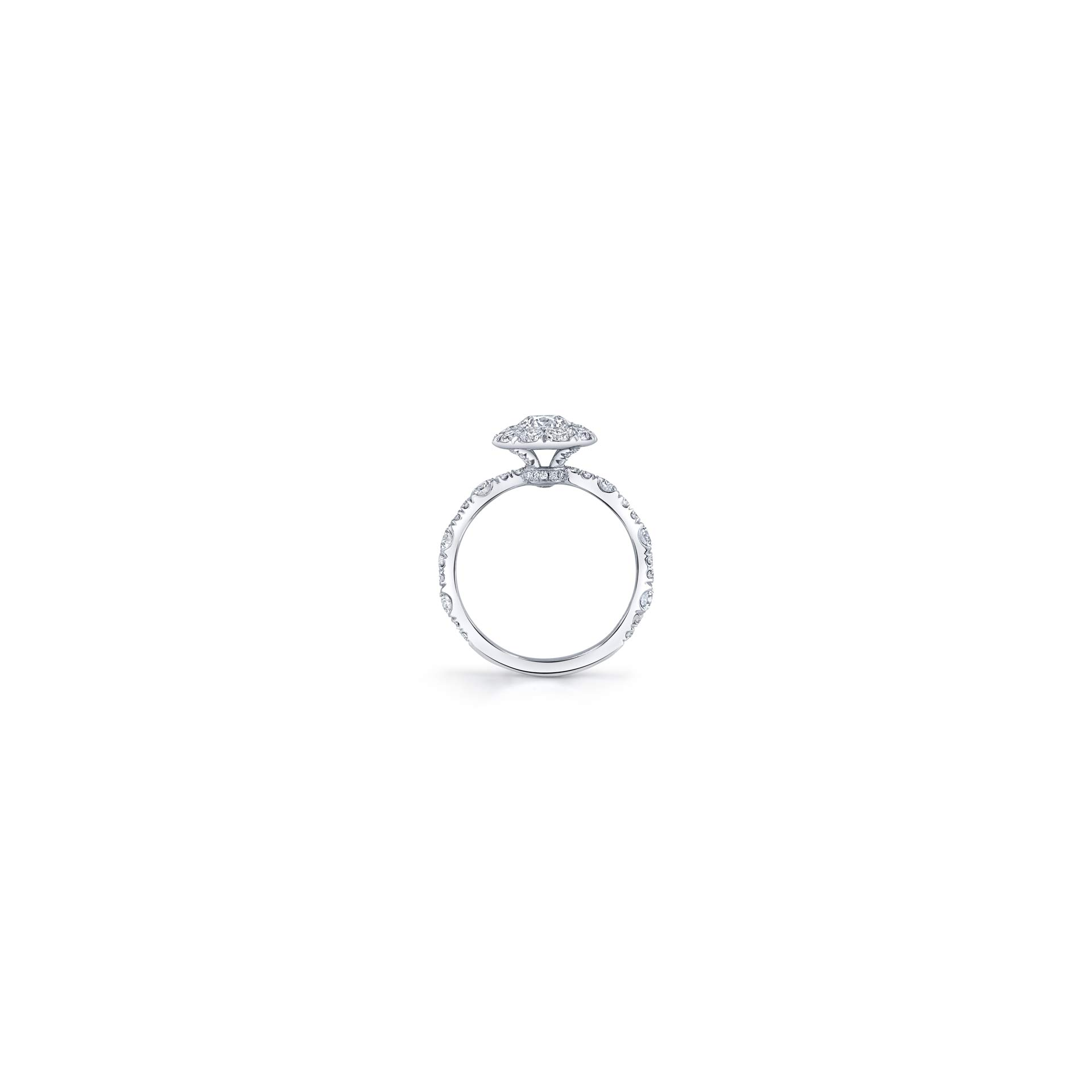Yvonne Floating Round Brilliant Seamless Solitaire® Three Stone Engagement Ring with a diamond pavé wave in 18k White Gold Standing View by Oui by Jean Dousset
