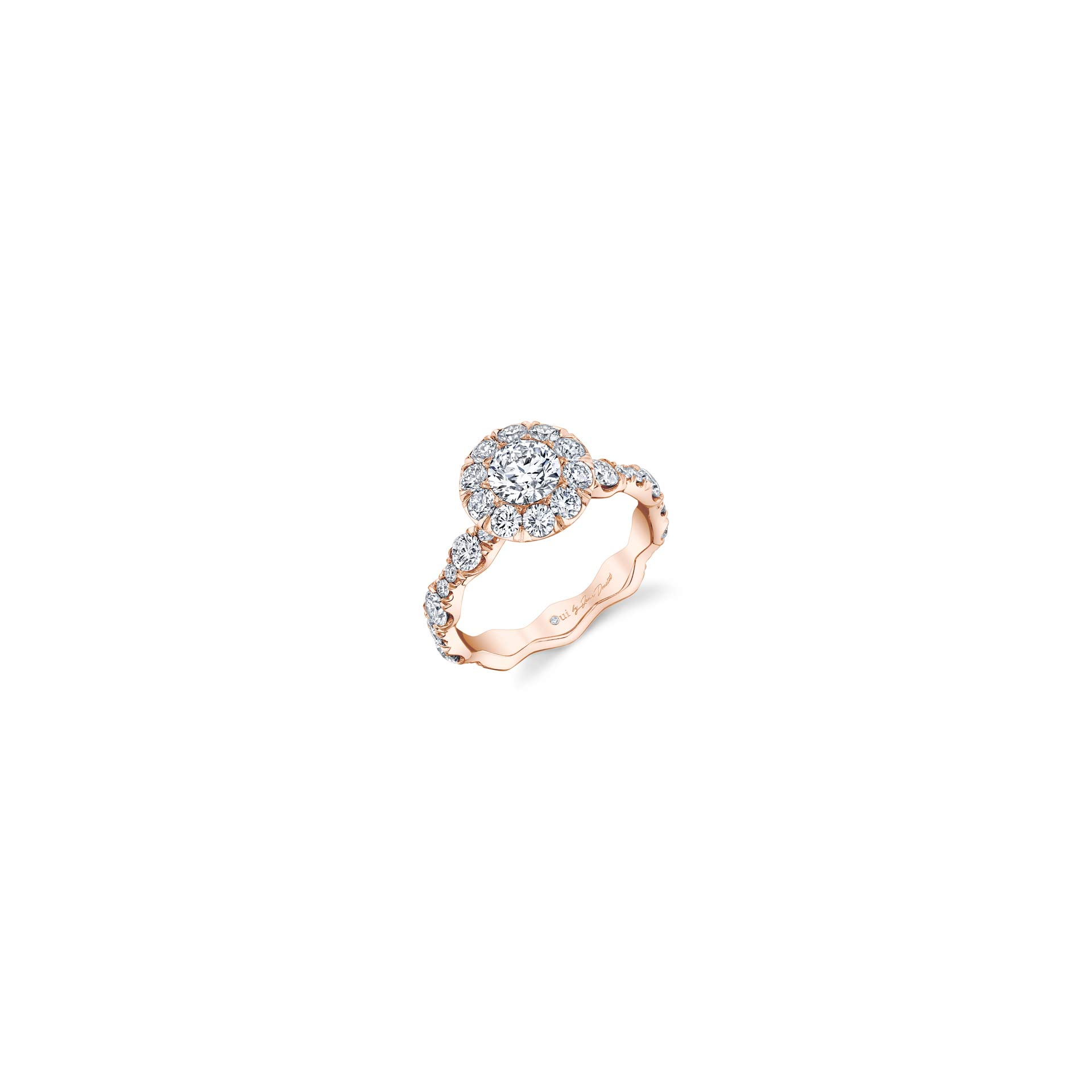 Yvonne Floating Round Brilliant Seamless Solitaire® Three Stone Engagement Ring with a diamond pavé wave in 18k Rose Gold Front View by Oui by Jean Dousset