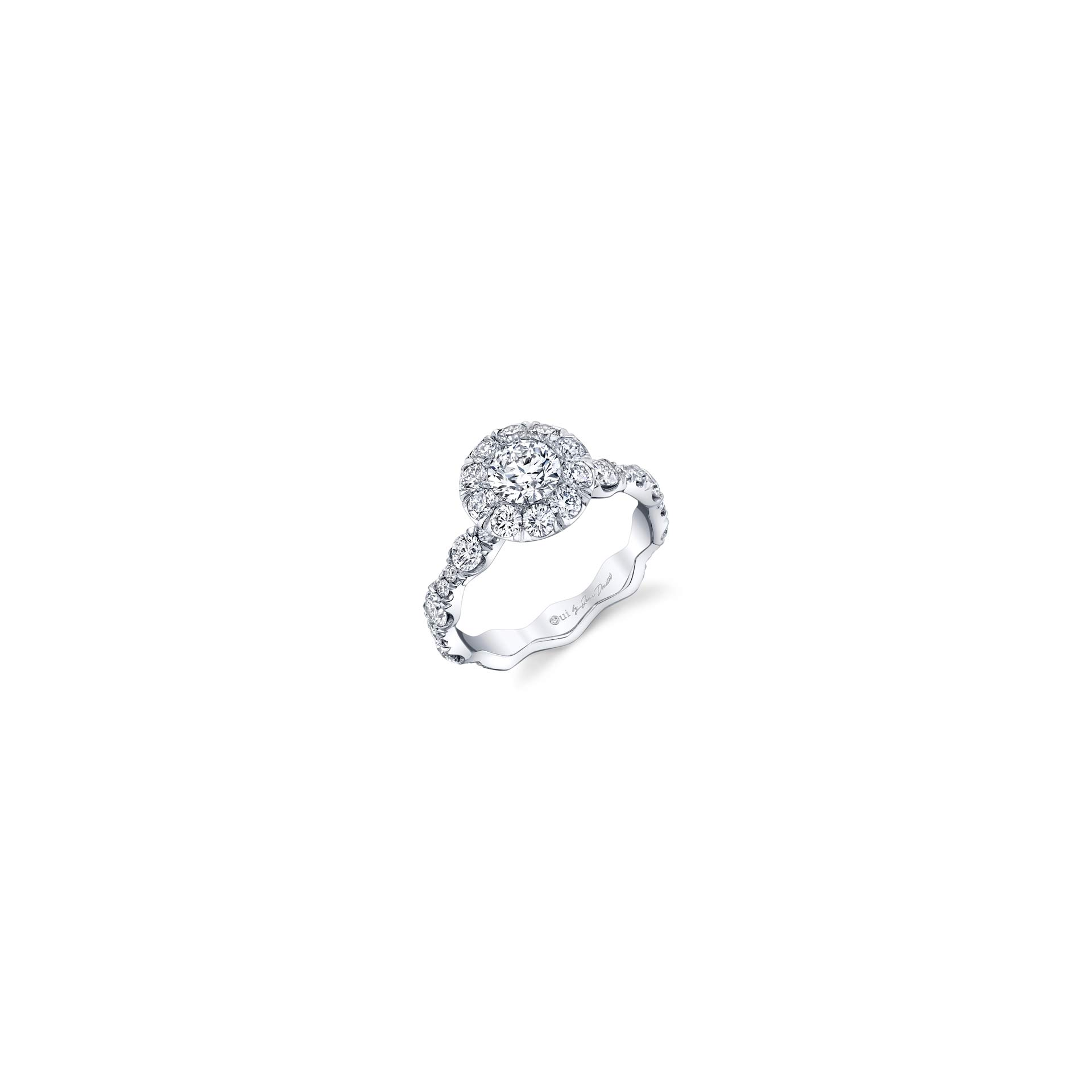 Yvonne Floating Round Brilliant Seamless Solitaire® Three Stone Engagement Ring with a diamond pavé wave in 18k White Gold Front View by Oui by Jean Dousset