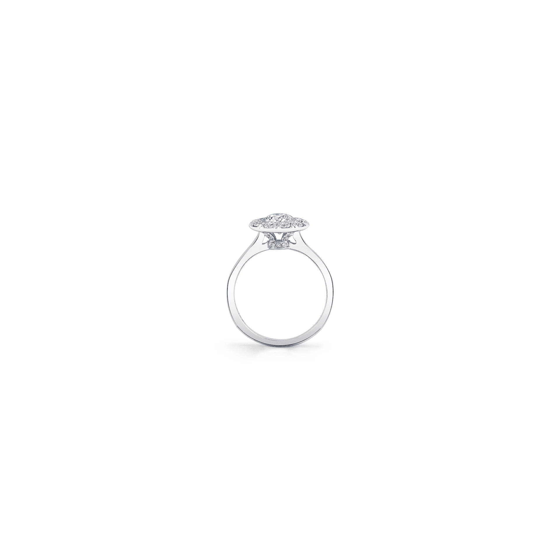 Colette Round Brilliant Seamless Solitaire® Engagement Ring with a solid band in 18k White Gold Standing View by Oui by Jean Dousset