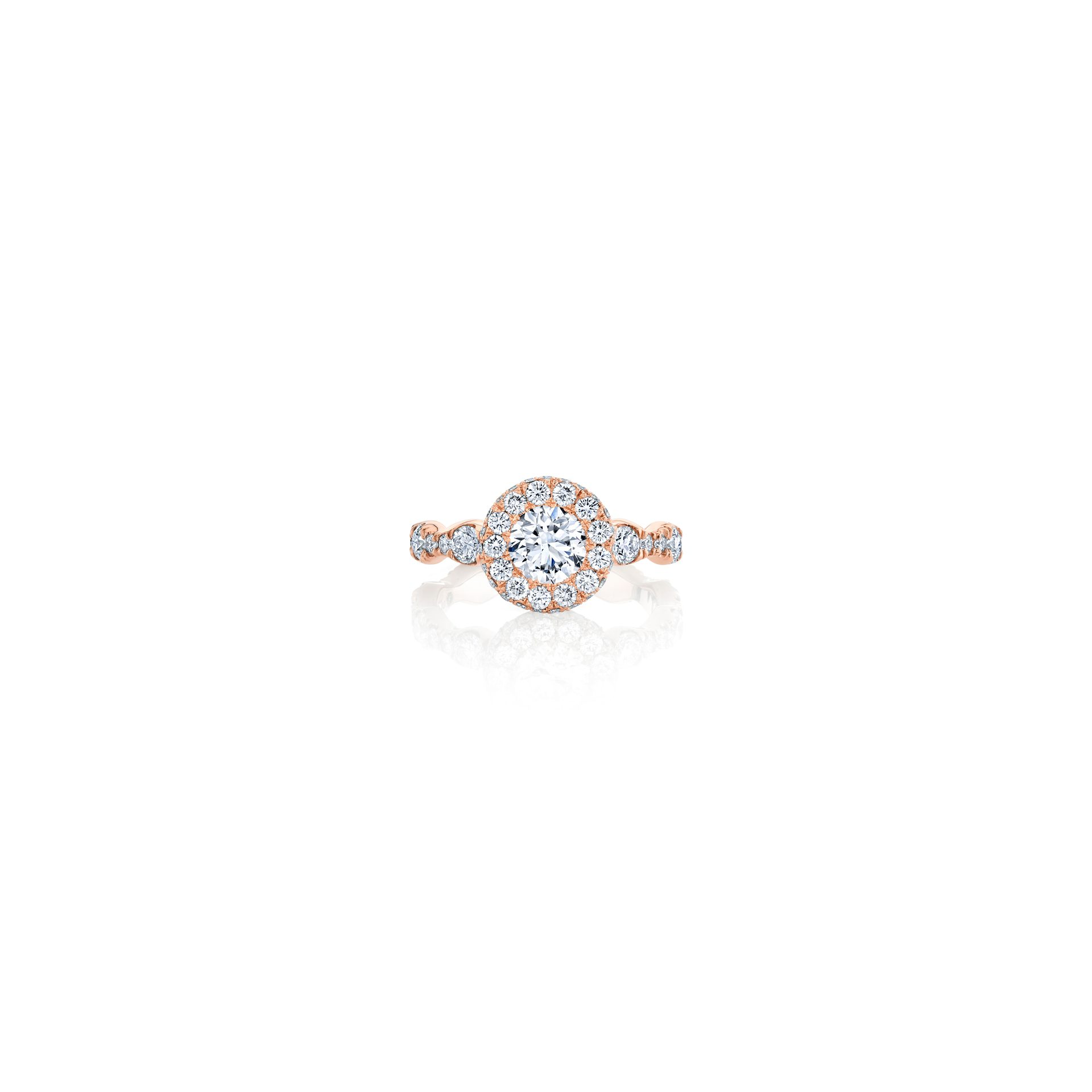 Yvonne Round Brilliant Seamless Halo® Engagement Ring with a diamond pavé wave band in 18k Rose Gold by Oui by Jean Dousset