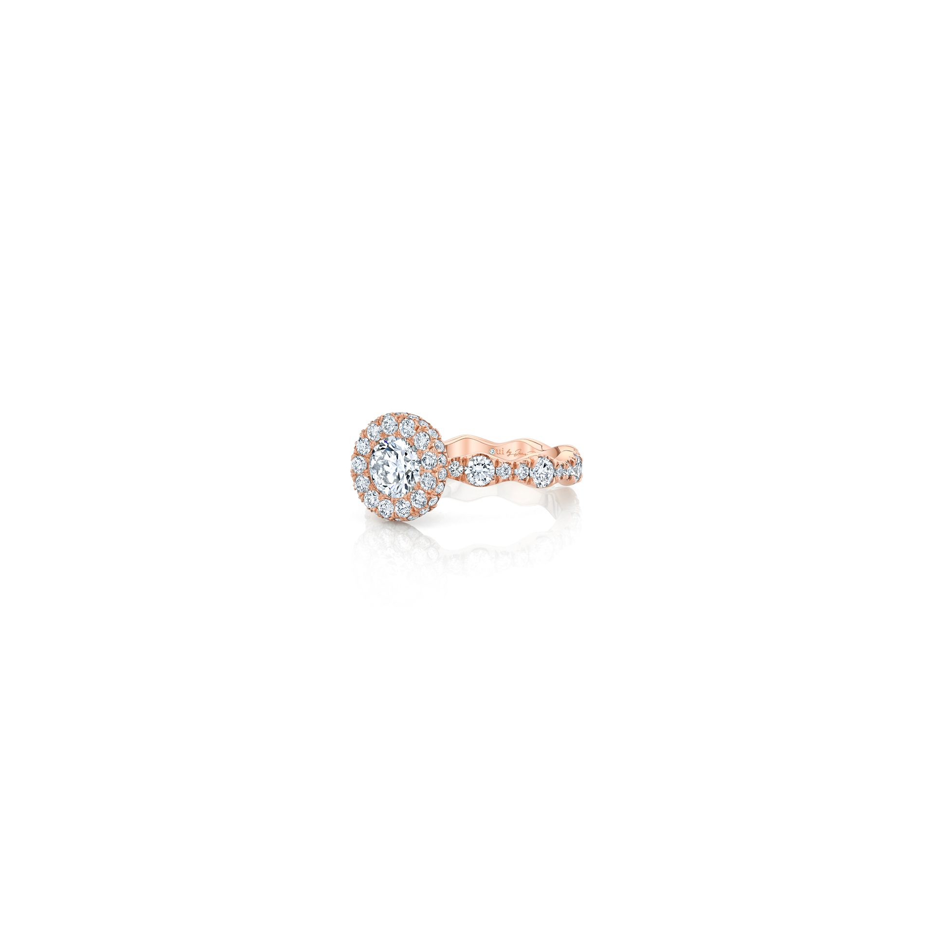 Yvonne Round Brilliant Seamless Halo® Engagement Ring with a diamond pavé wave band in 18k Rose Gold Side View by Oui by Jean Dousset