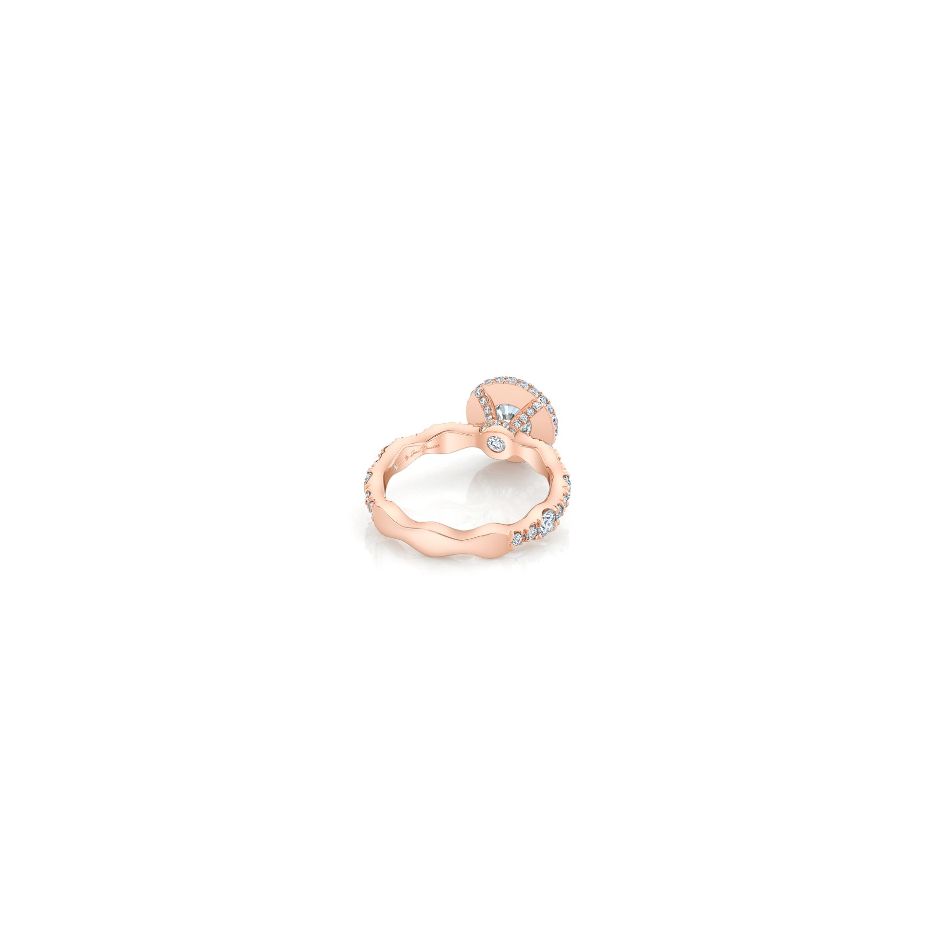 Yvonne Round Brilliant Seamless Halo® Engagement Ring with a diamond pavé wave band in 18k Rose Gold Back View by Oui by Jean DoussetYvonne Round Brilliant Seamless Halo® Engagement Ring with a diamond pavé wave band in 18k Rose Gold by Oui by Jean Dousset