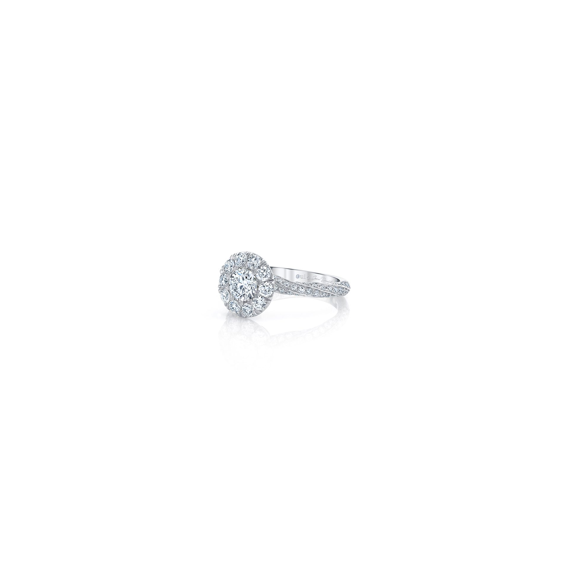 Camille Floating Round Brilliant Seamless Solitaire™ Engagement Ring with diamond pavé in 18k White Gold Side View by Oui by Jean Dousset